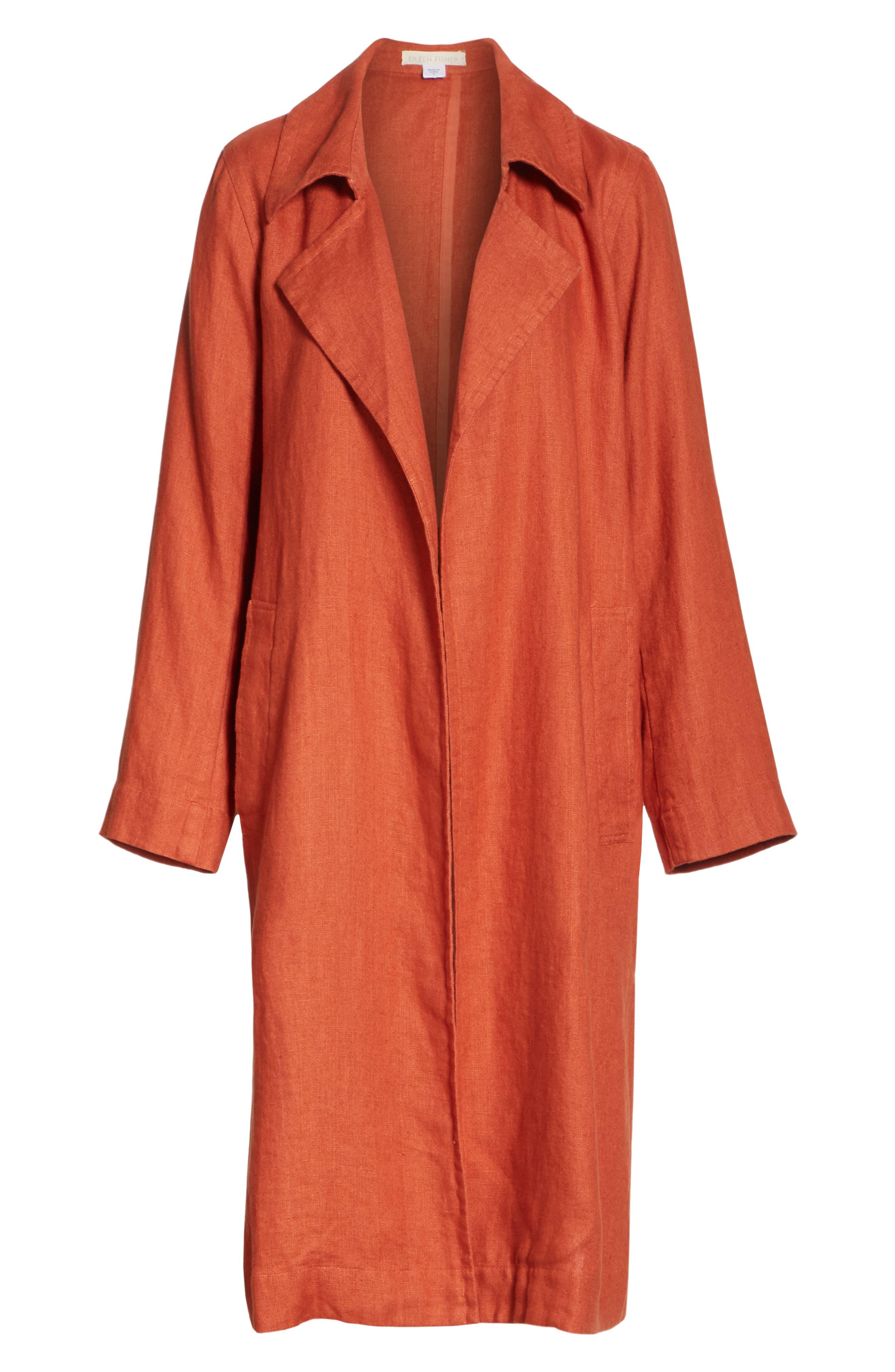 Organic Linen Trench Coat,                             Alternate thumbnail 5, color,                             822