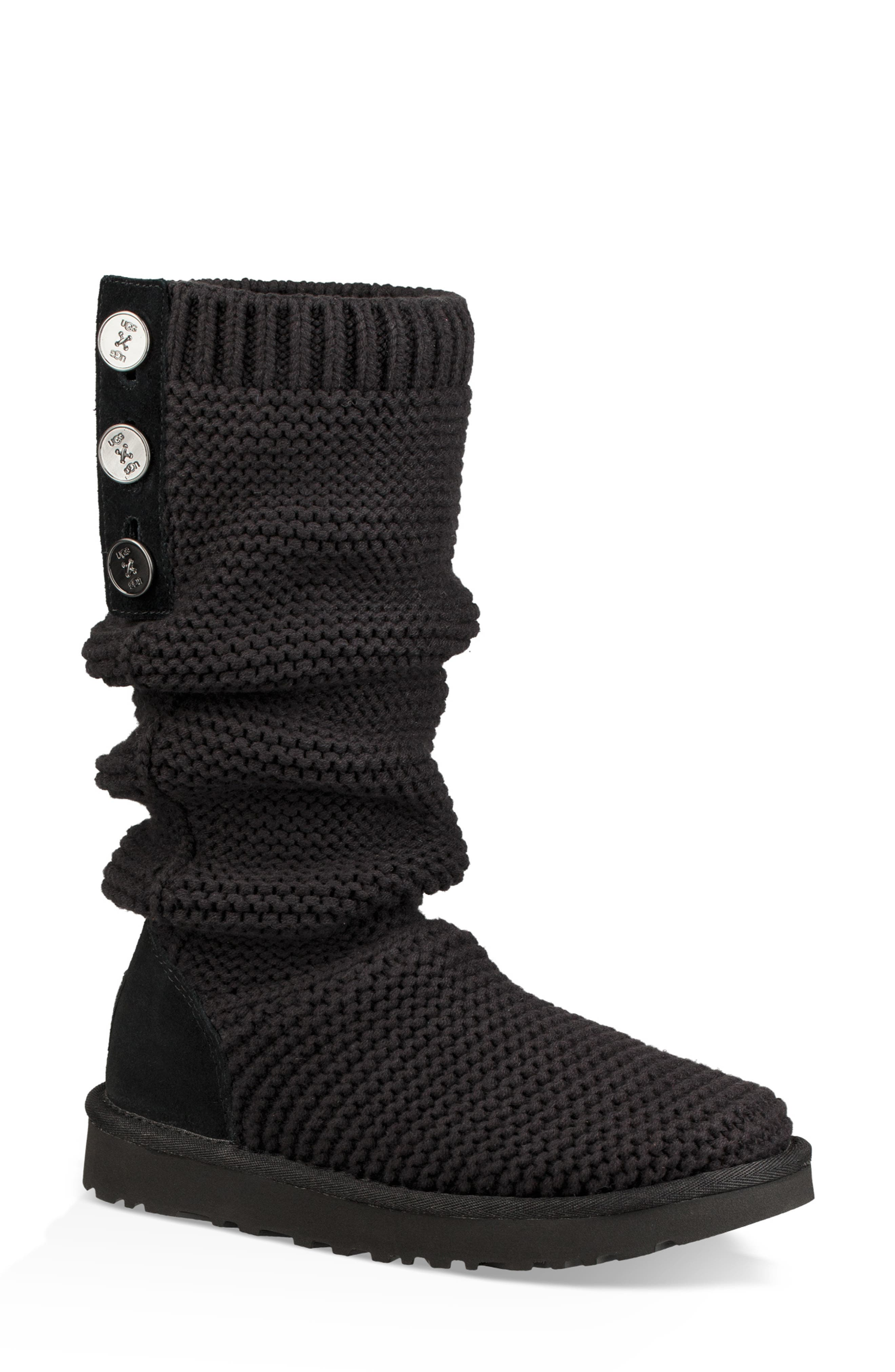 UGG<SUP>®</SUP>,                             Purl Cardy Knit Boot,                             Main thumbnail 1, color,                             001