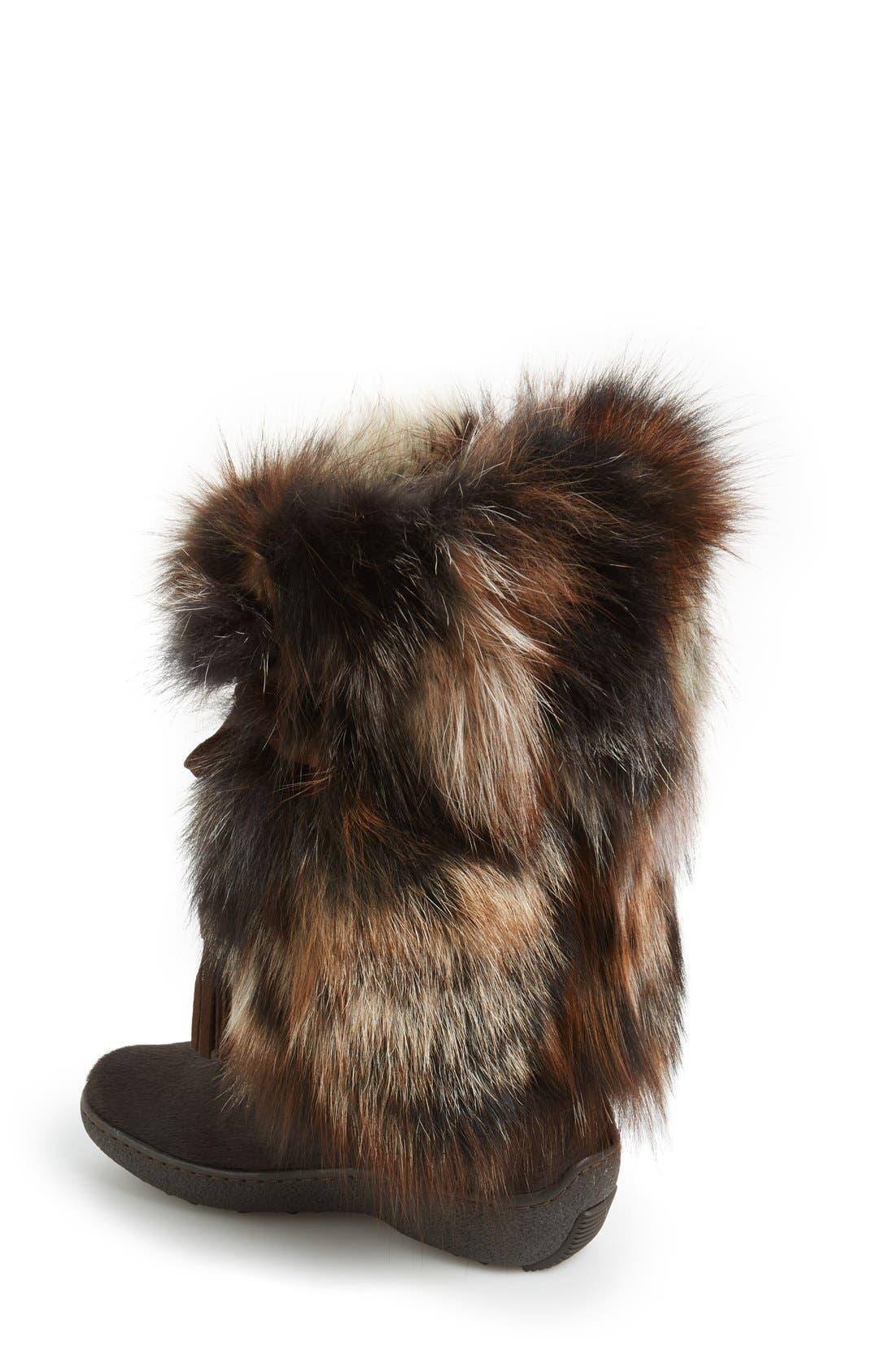 'Fox Trot' Genuine Fox Fur & Calf Hair Boot,                             Alternate thumbnail 8, color,