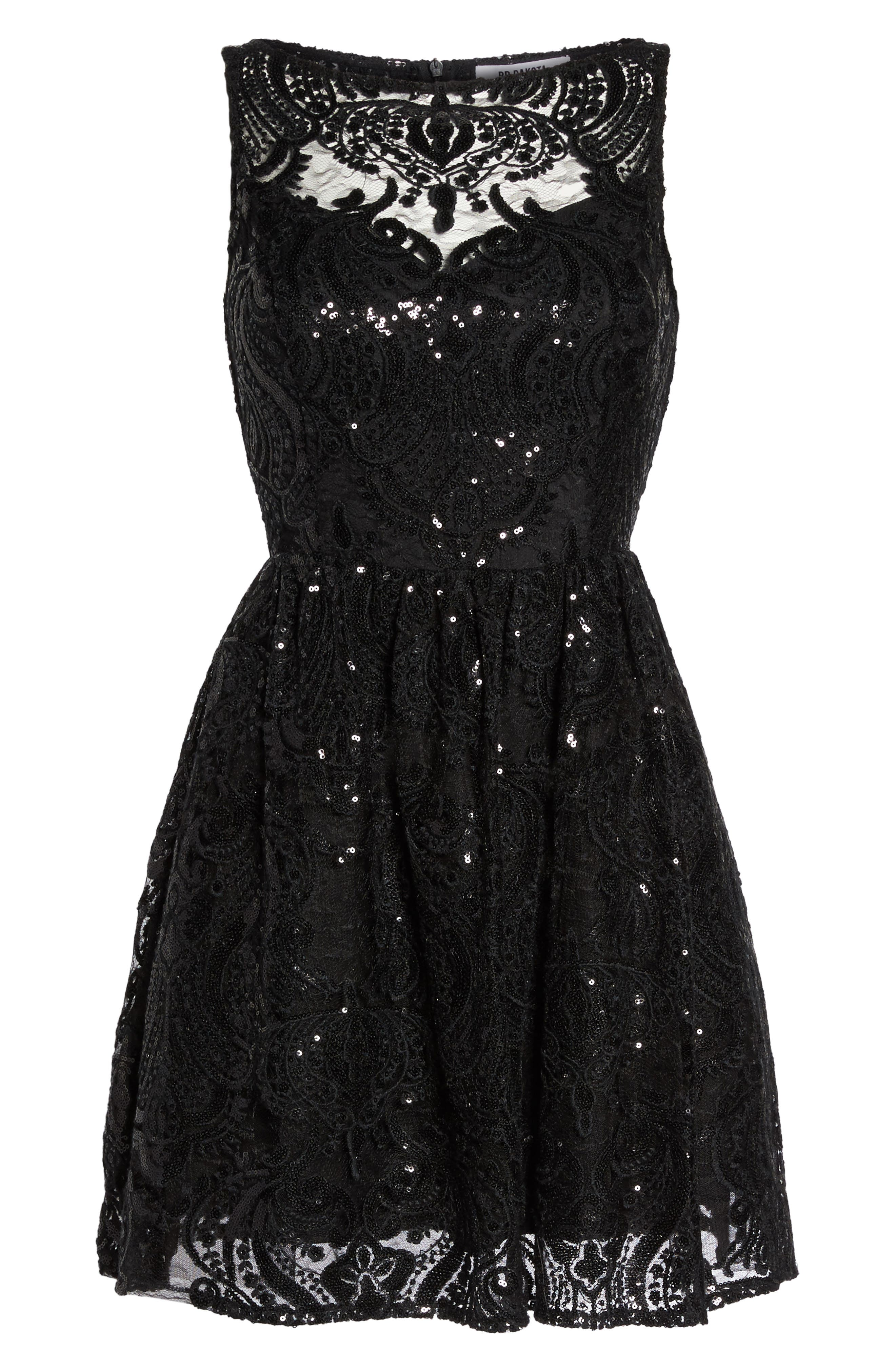 Tate Sequin Fit & Flare Dress,                             Alternate thumbnail 6, color,                             001
