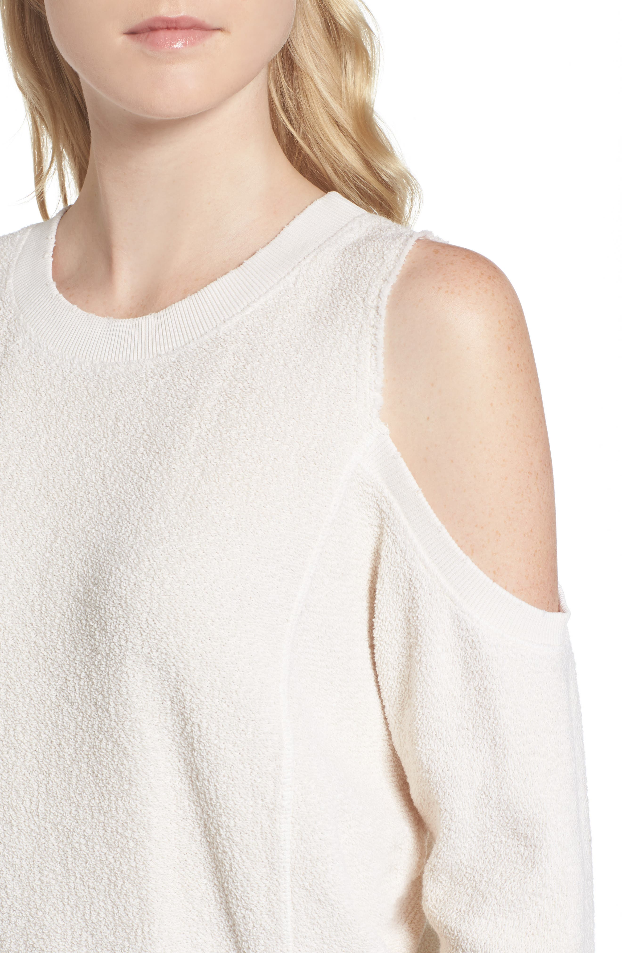 Maia Cold Shoulder Reversed Sweatshirt,                             Alternate thumbnail 4, color,                             100