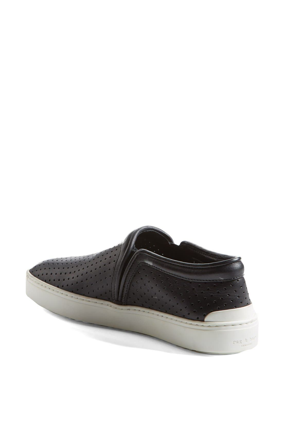 'Kent' Perforated Leather Slip-On,                             Alternate thumbnail 3, color,                             001