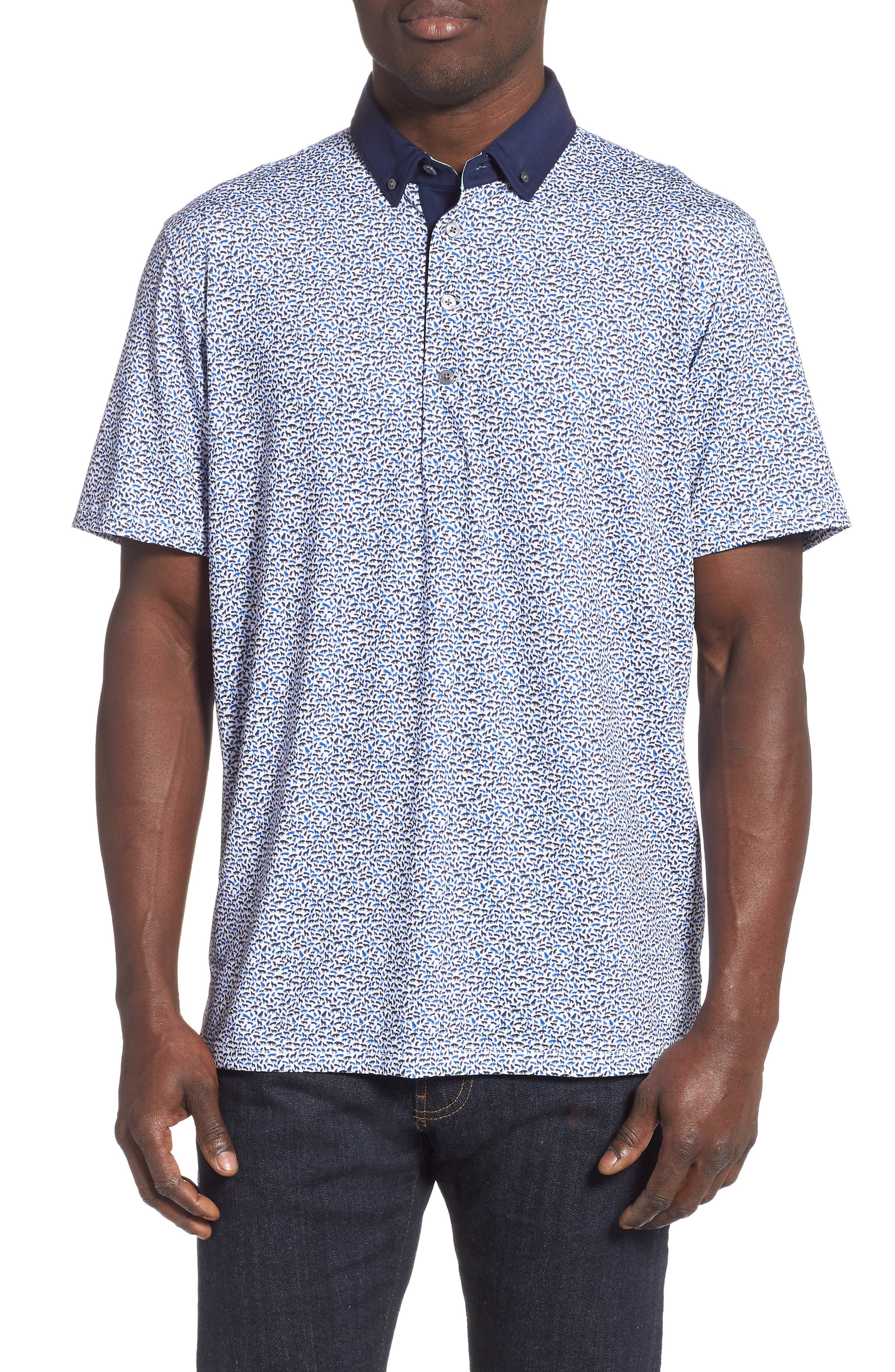 GREYSON Wolf Pack Print Polo Shirt in Arctic