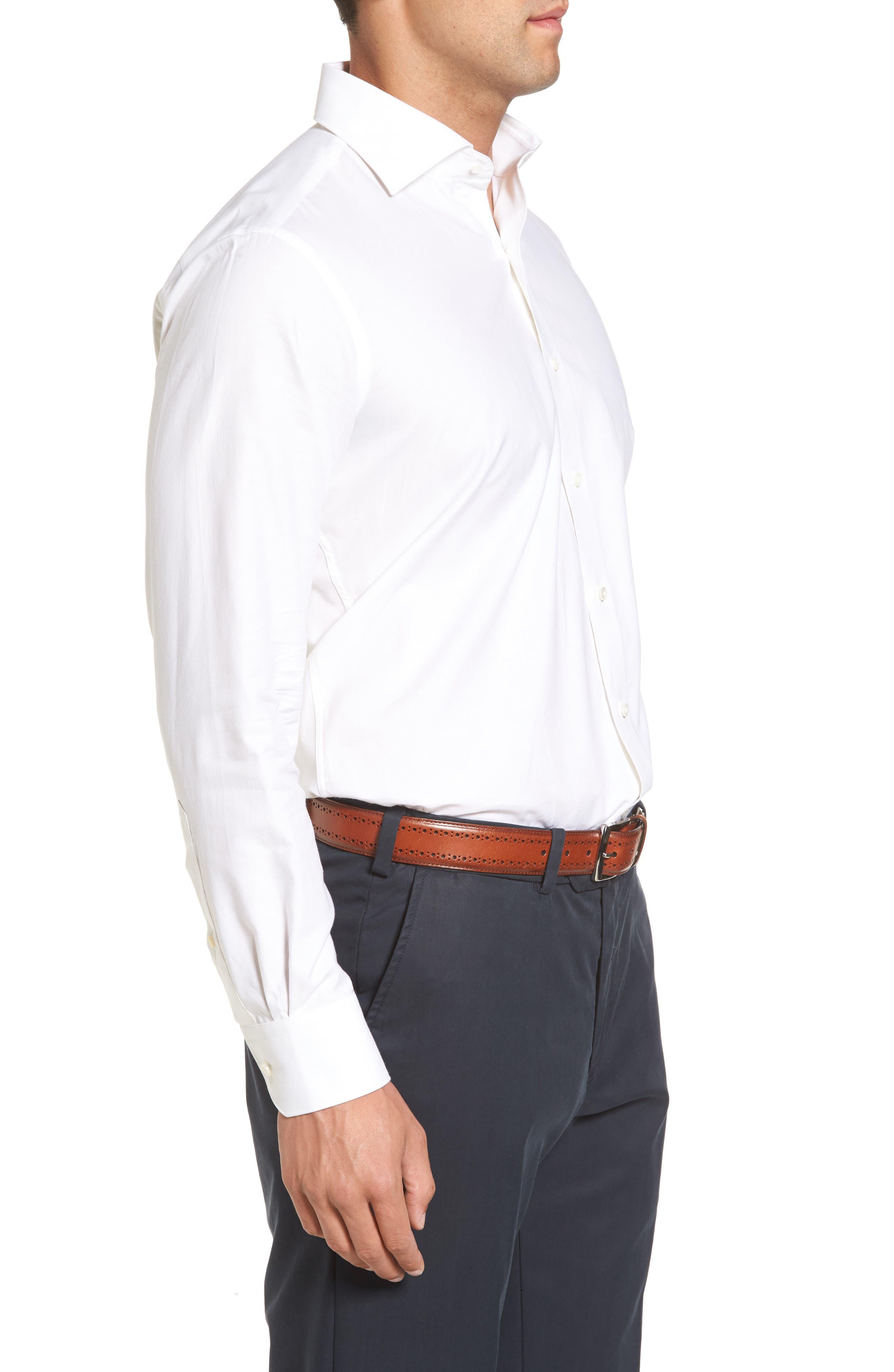 Silky Touch Herringbone Sport Shirt,                             Alternate thumbnail 3, color,                             100
