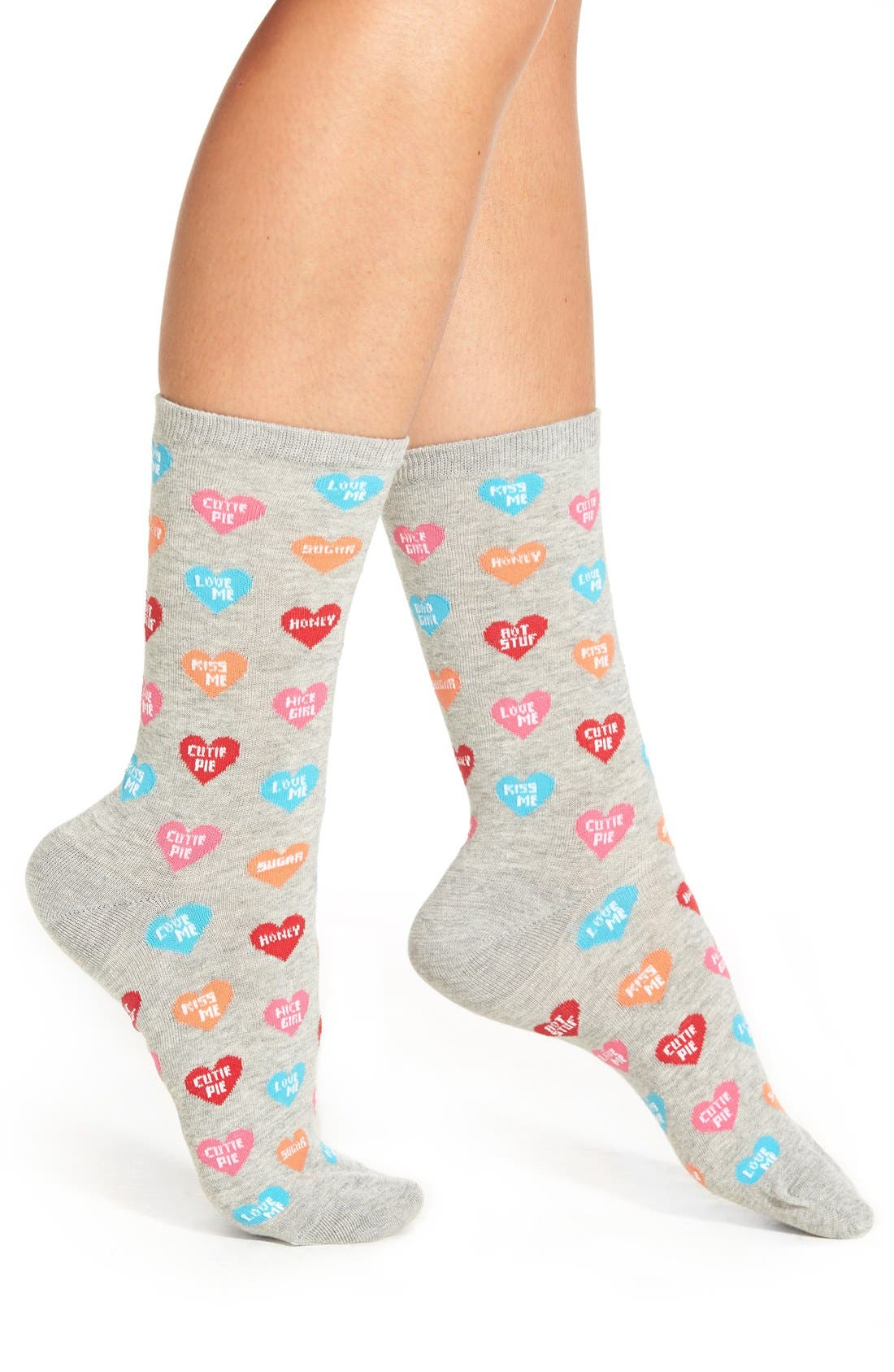 'Candy Hearts' Crew Socks,                         Main,                         color, 054