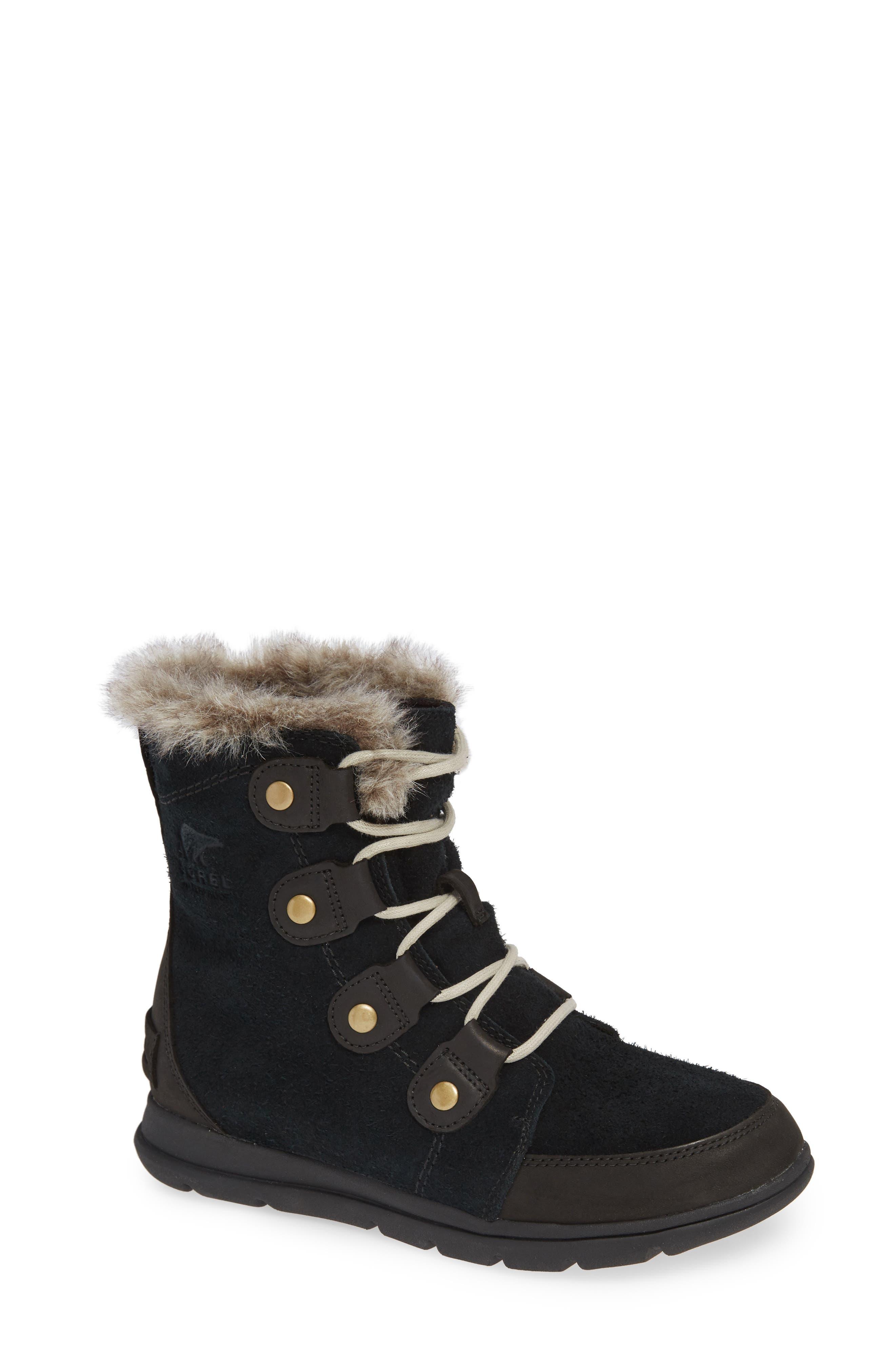Explorer Joan Waterproof Boot with Faux Fur Collar,                             Main thumbnail 1, color,                             BLACK/ DARK STONE