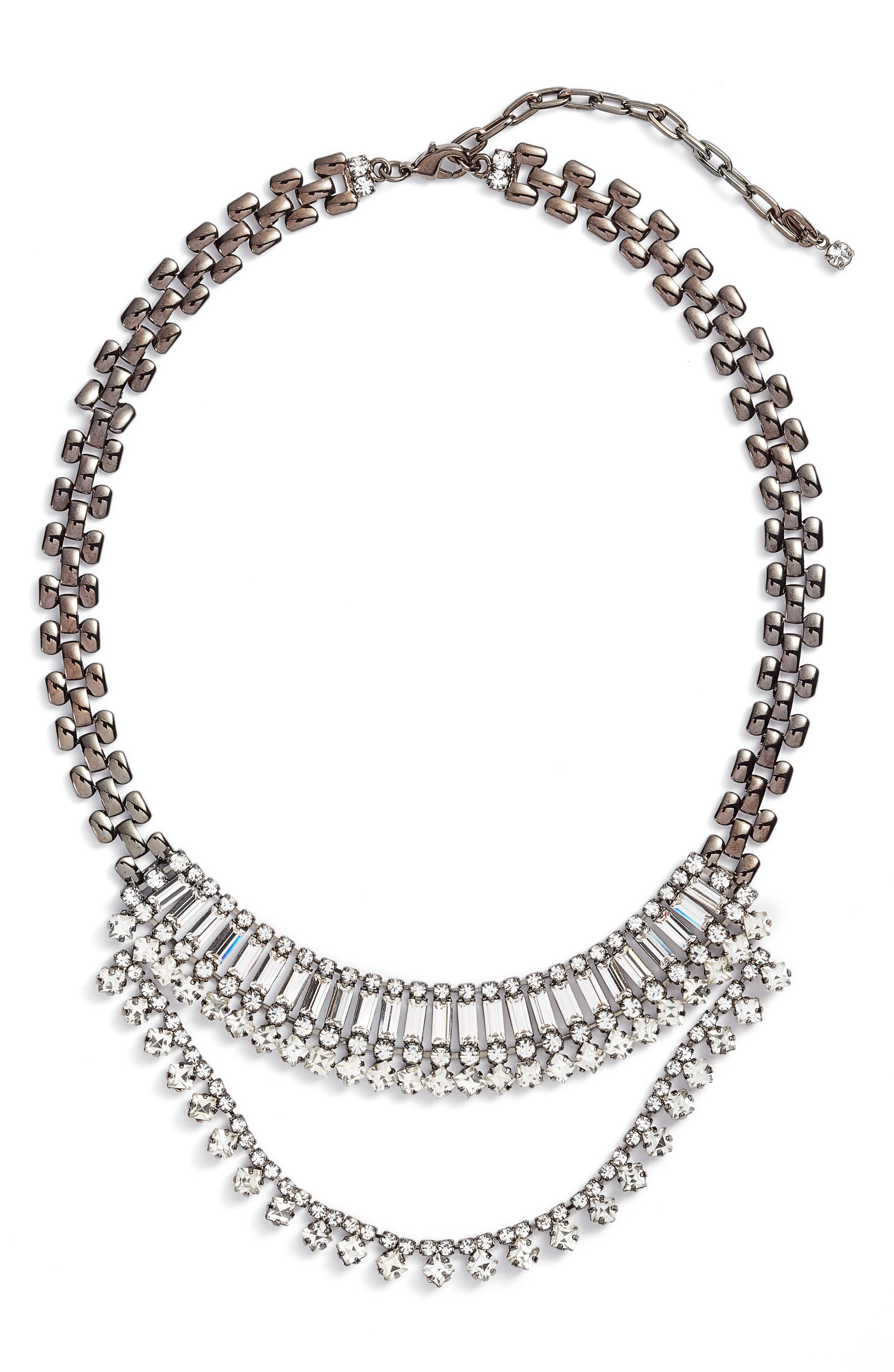 Multistone Frontal Necklace,                         Main,                         color,