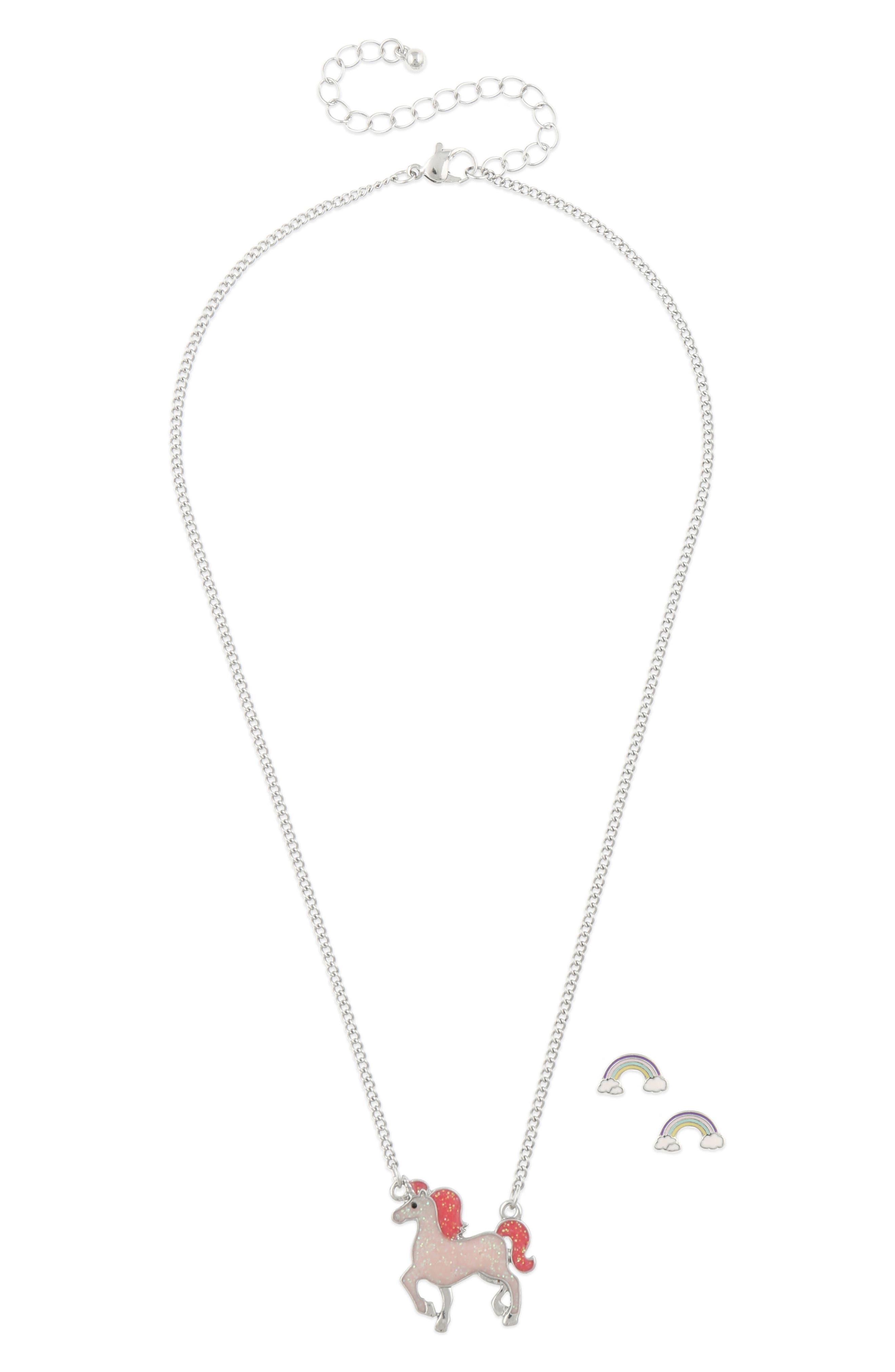 Rainbow Unicorn Necklace & Earrings Set,                             Main thumbnail 1, color,                             PINK COMBO