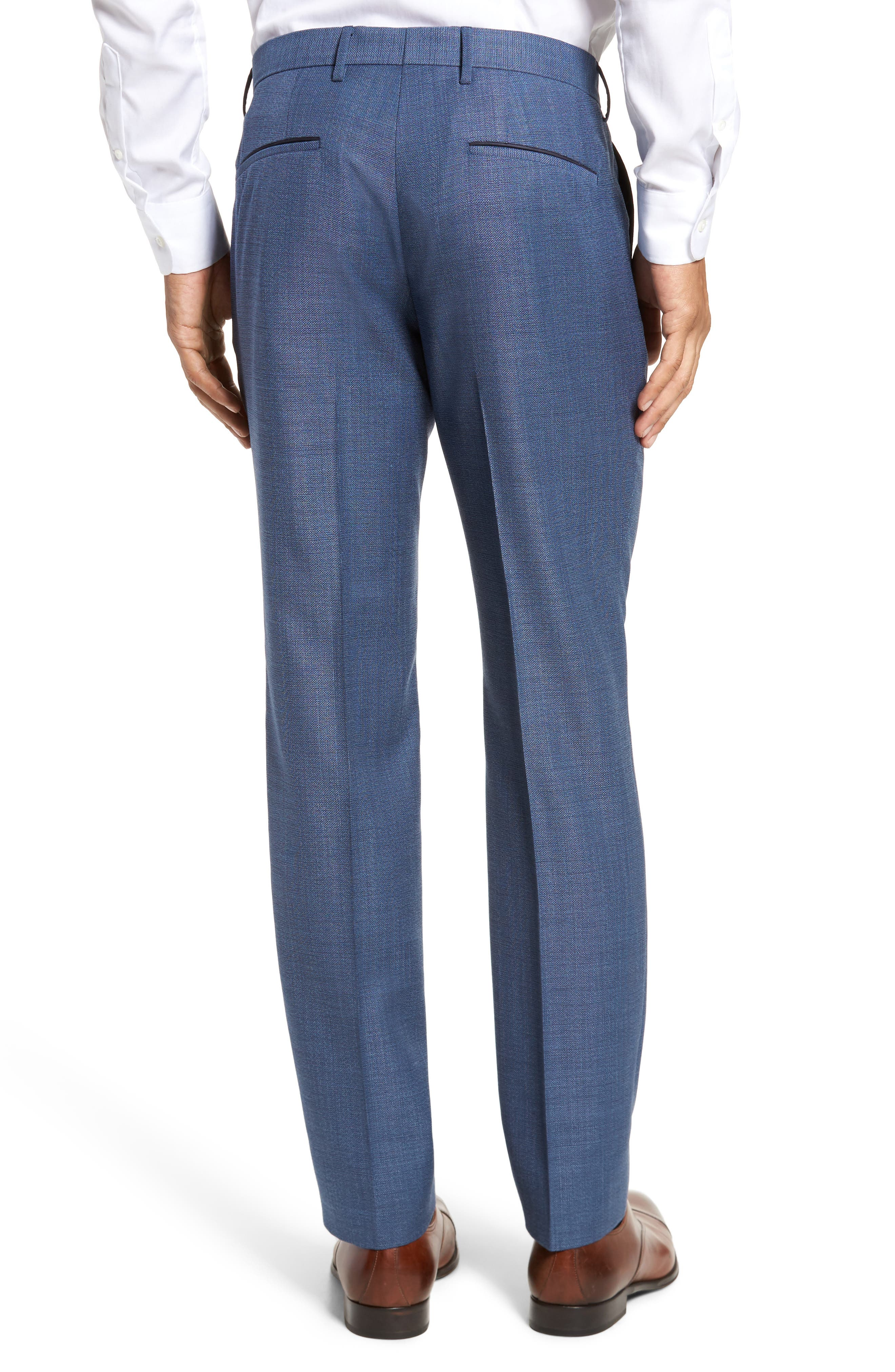 Blake Flat Front Trim Fit Solid Wool Trousers,                             Alternate thumbnail 3, color,                             420