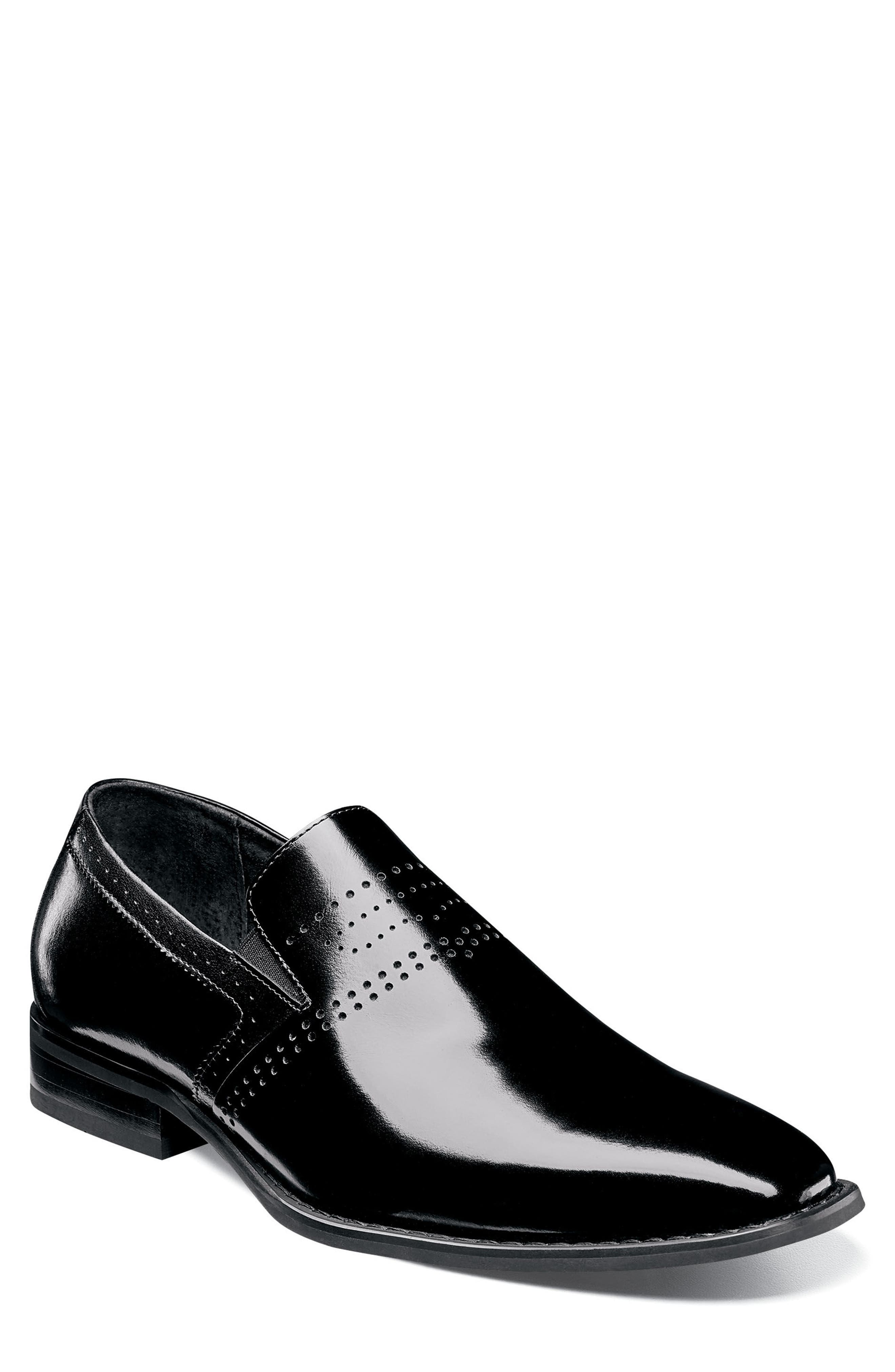 Saunders Perforated Venetian Loafer,                             Main thumbnail 1, color,                             BLACK LEATHER