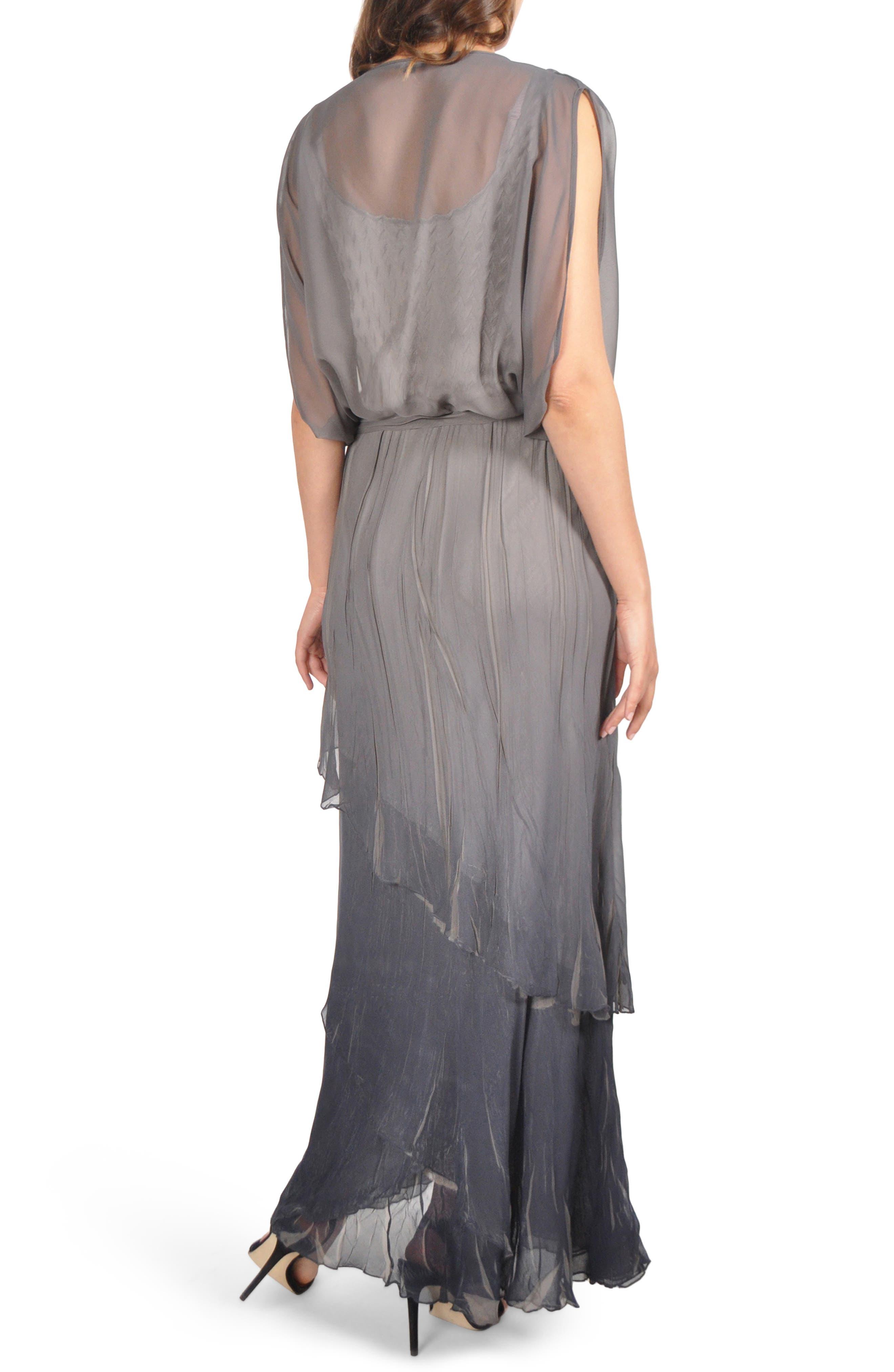 Drape Chiffon Gown,                             Alternate thumbnail 2, color,                             CONCRETE BLUE OMBRE