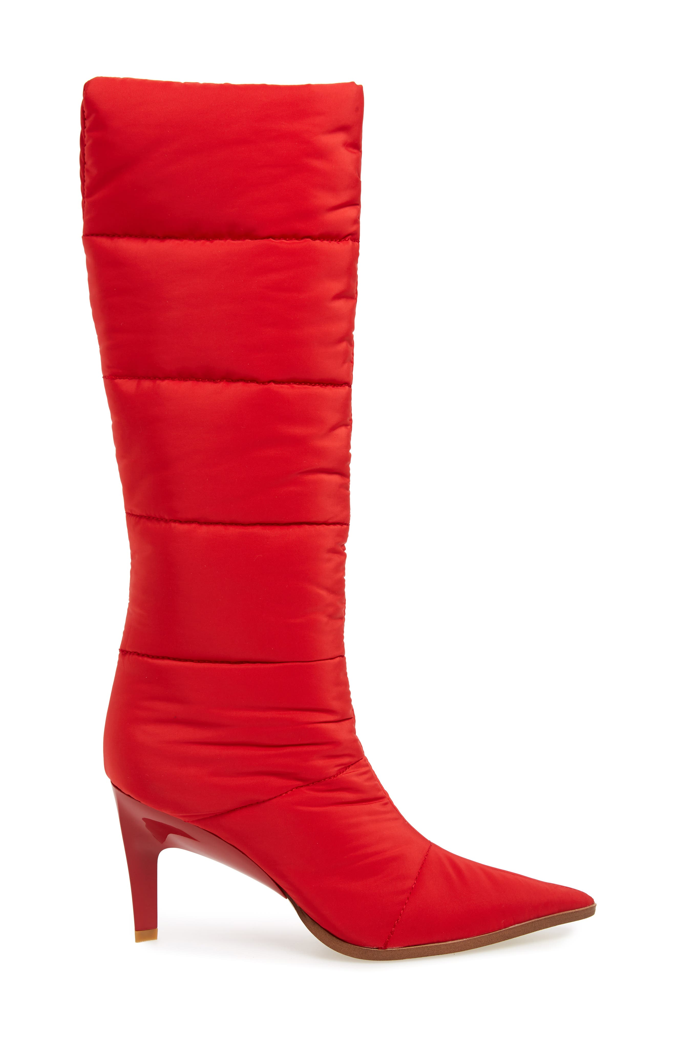 Apris Knee High Puffer Boot,                             Alternate thumbnail 3, color,                             RED FABRIC