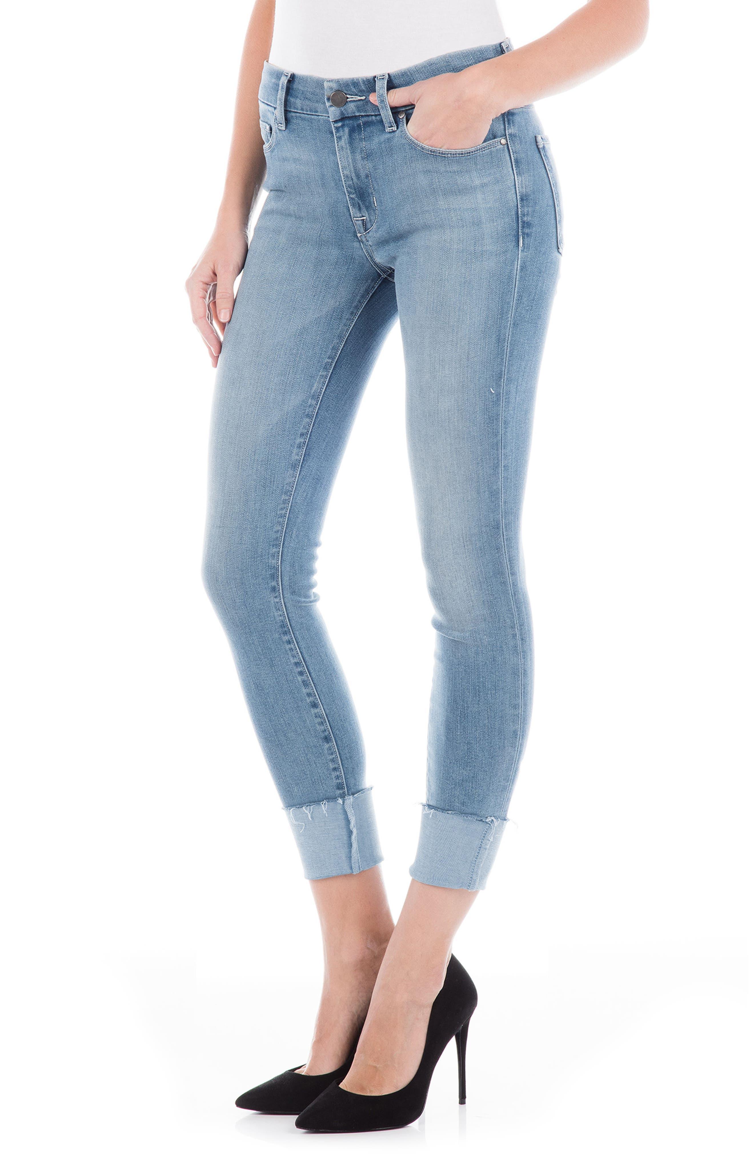 Stevie Crop Slim Straight Leg Jeans,                             Alternate thumbnail 3, color,                             VENICE BLUE
