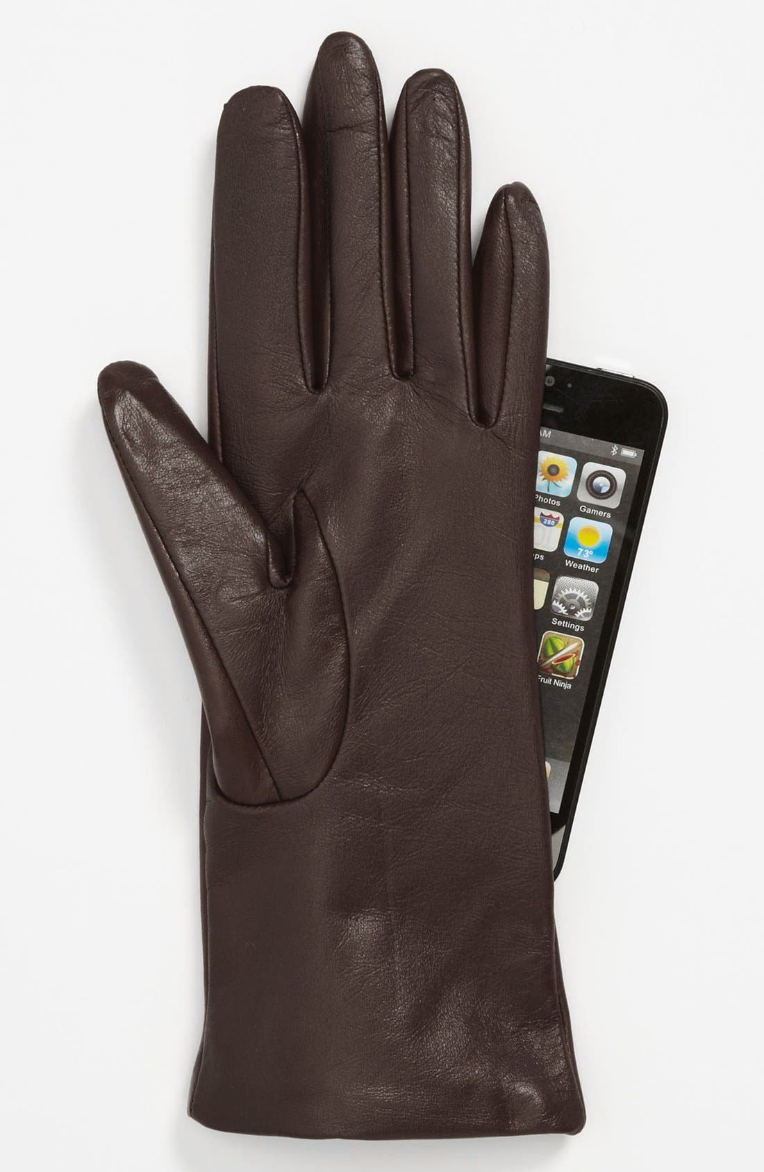 'Basic Tech' Cashmere Lined Leather Gloves,                             Alternate thumbnail 9, color,
