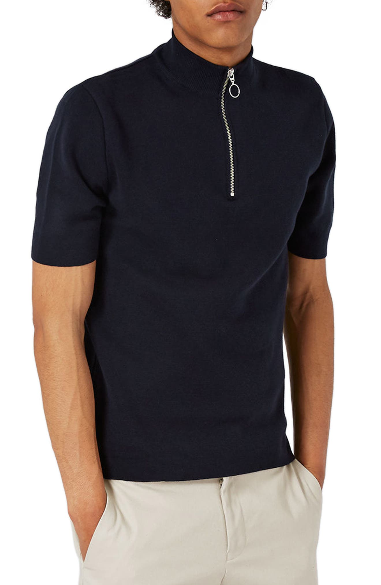 Quarter Zip Mock Neck Sweater, Main, color, 401
