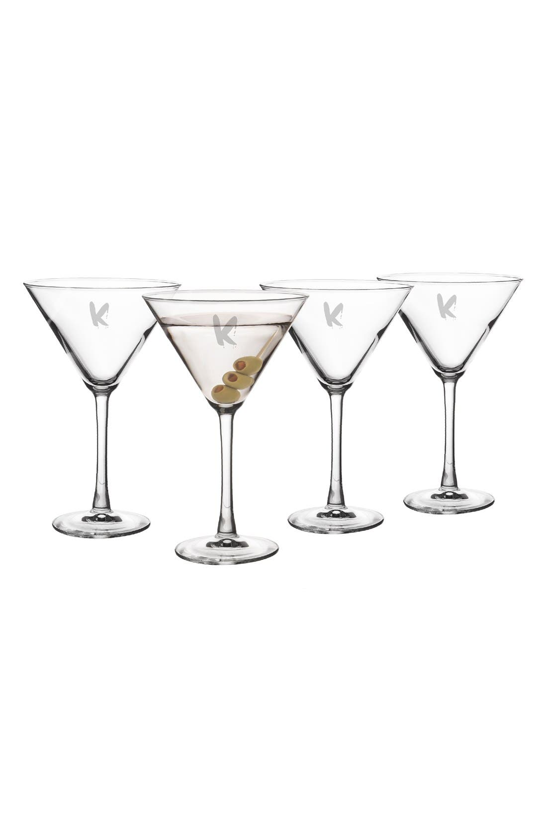 'Spooky' Monogram Martini Glasses,                             Alternate thumbnail 2, color,                             100