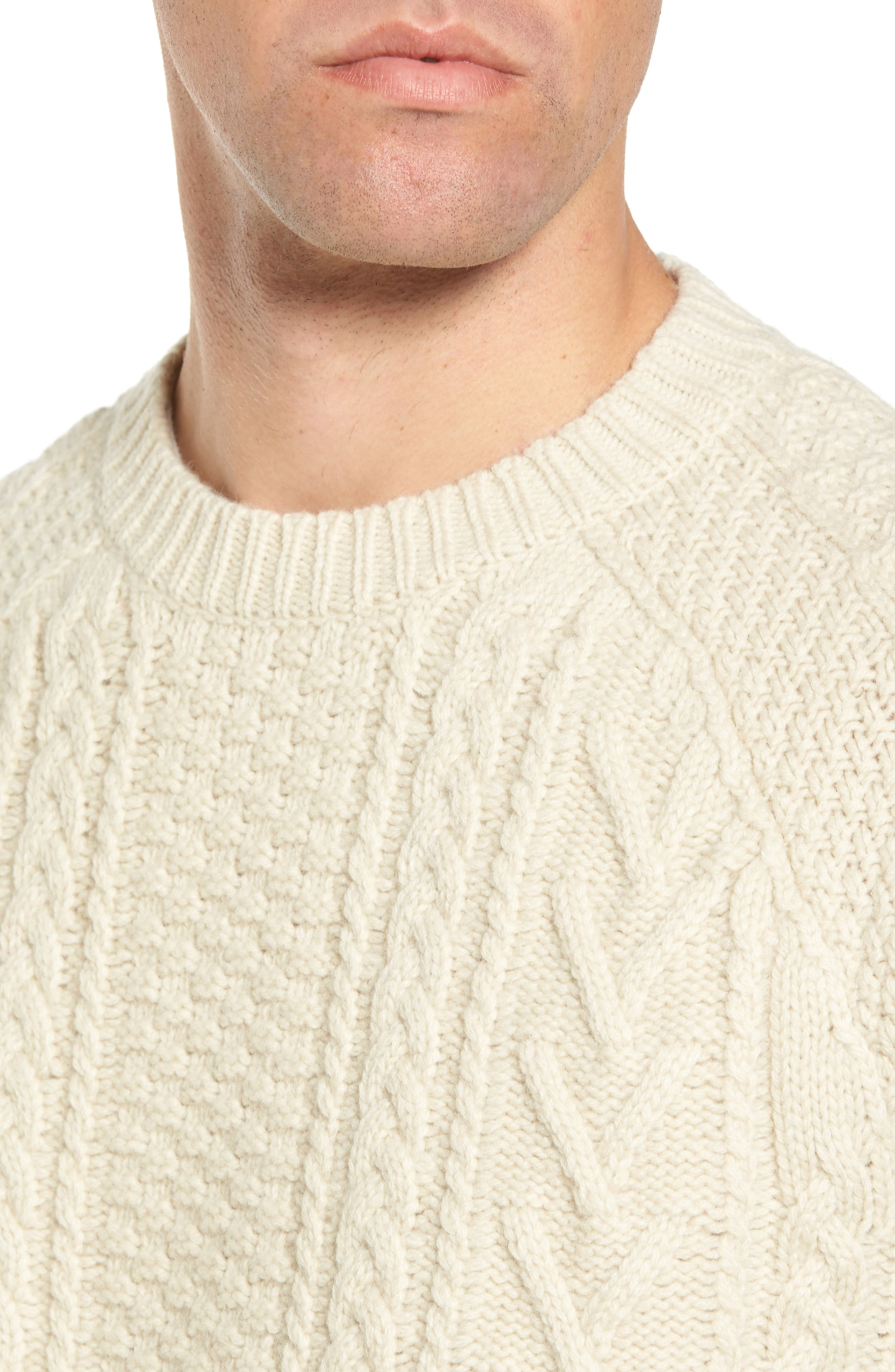 Fisherman Knit Wool Blend Sweater,                             Alternate thumbnail 4, color,                             OFF WHITE