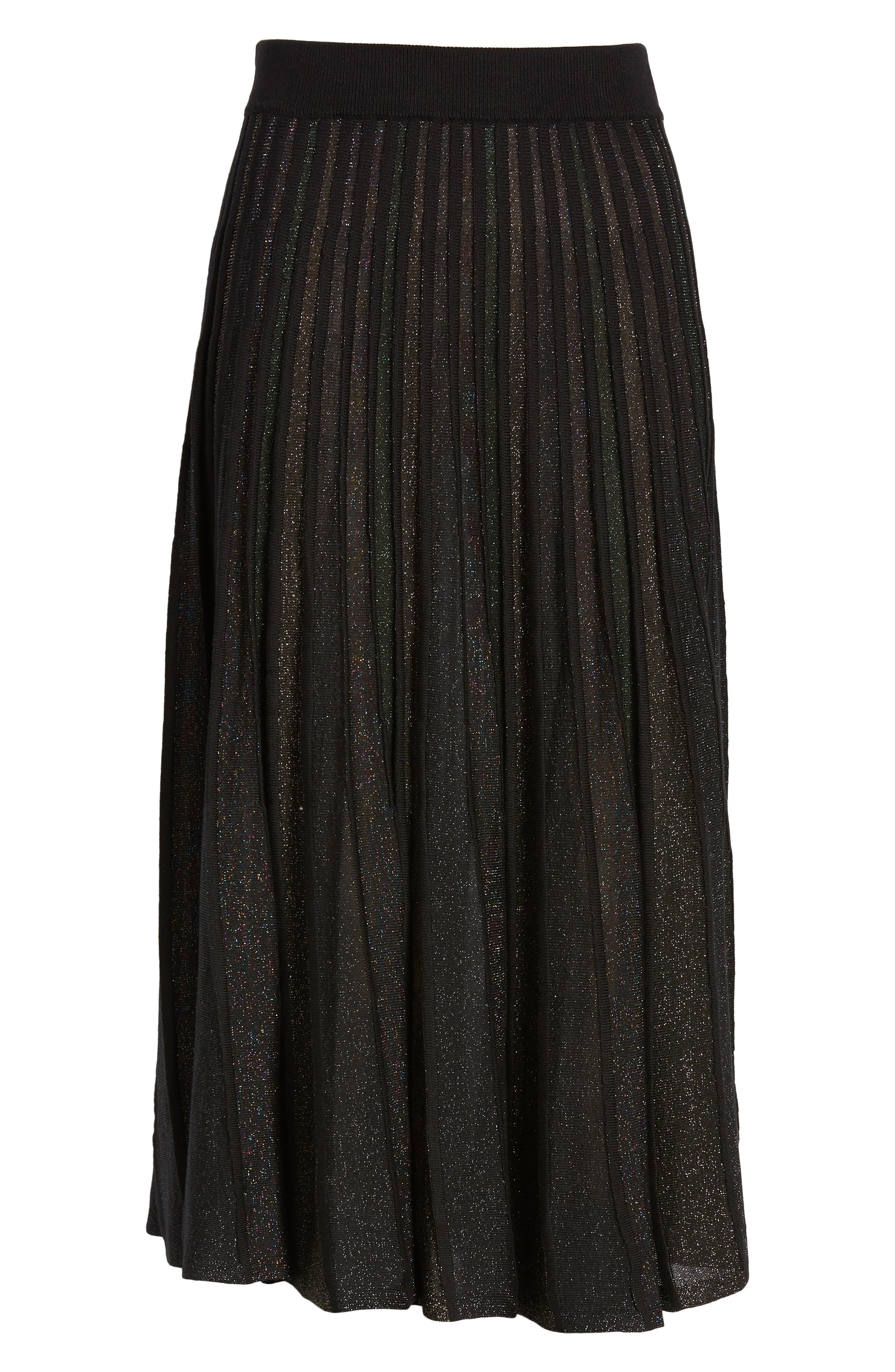 Sparkle Pleated Midi Skirt,                             Alternate thumbnail 6, color,                             MULTI STRIPE