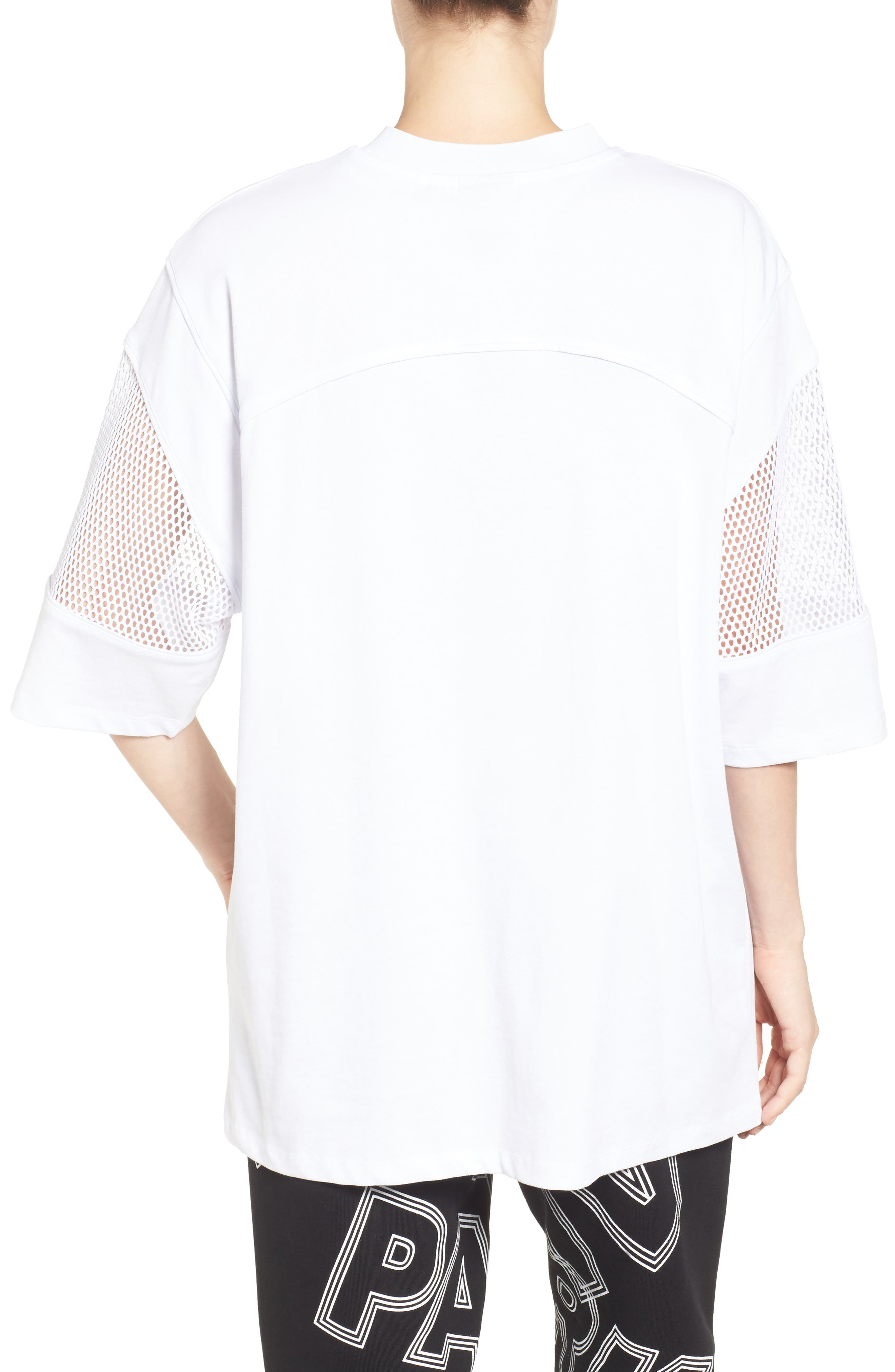 Logo Mesh Oversize Tee,                             Alternate thumbnail 2, color,                             100