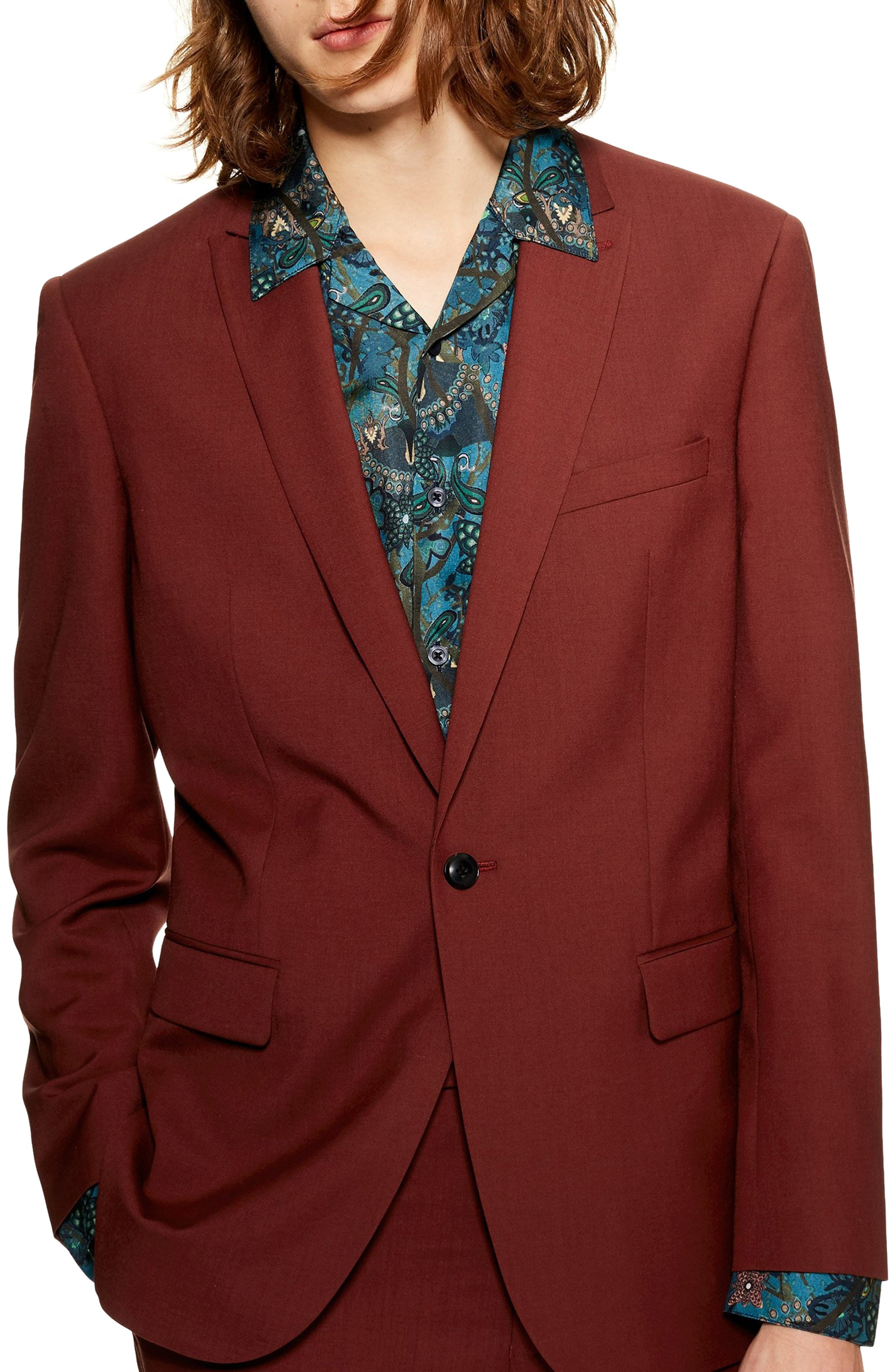 TOPMAN Casely Hayford Skinny Fit Suit Jacket in Red
