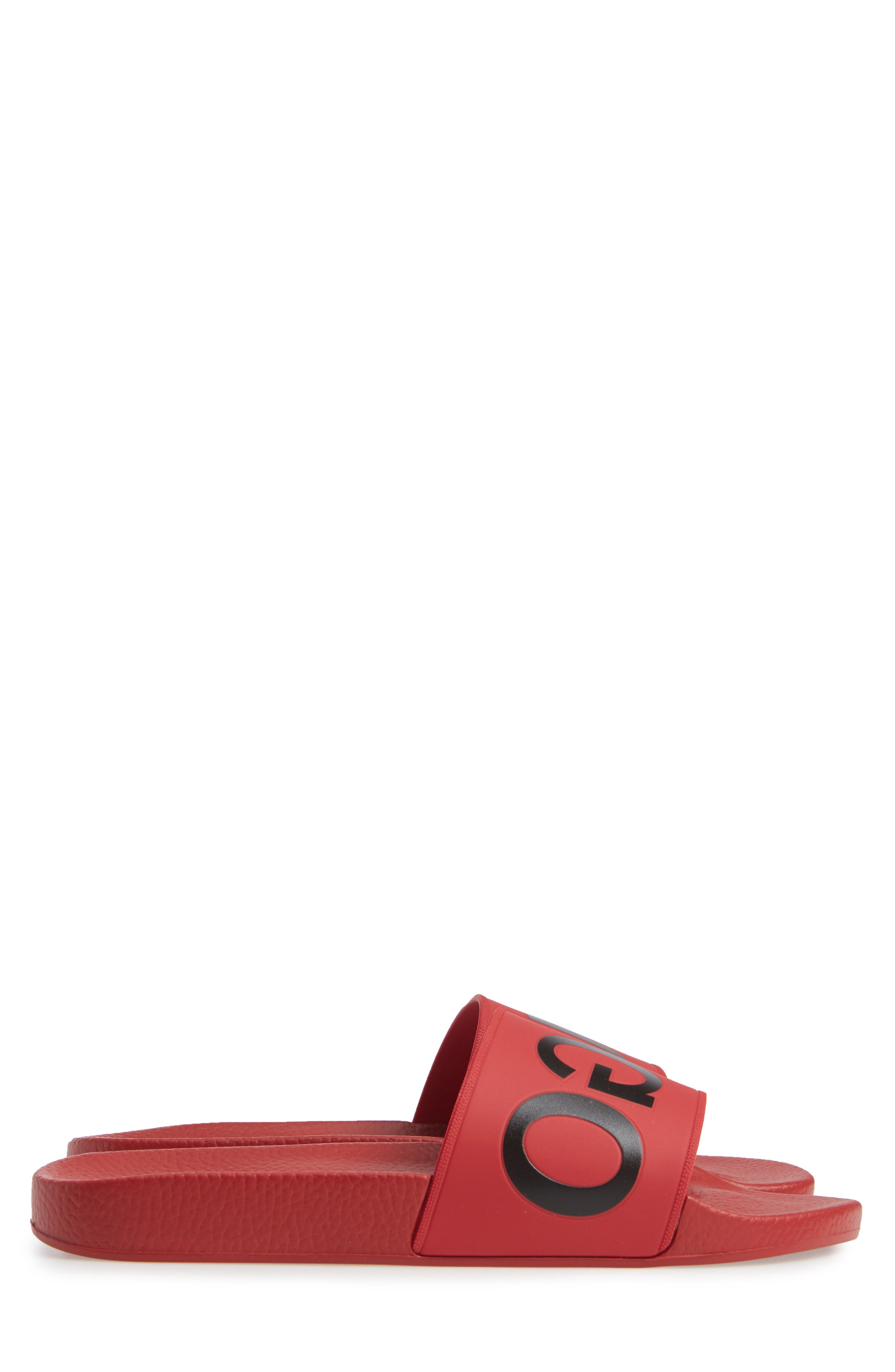 Time Out Slide Sandal,                             Alternate thumbnail 3, color,                             MEDIUM RED