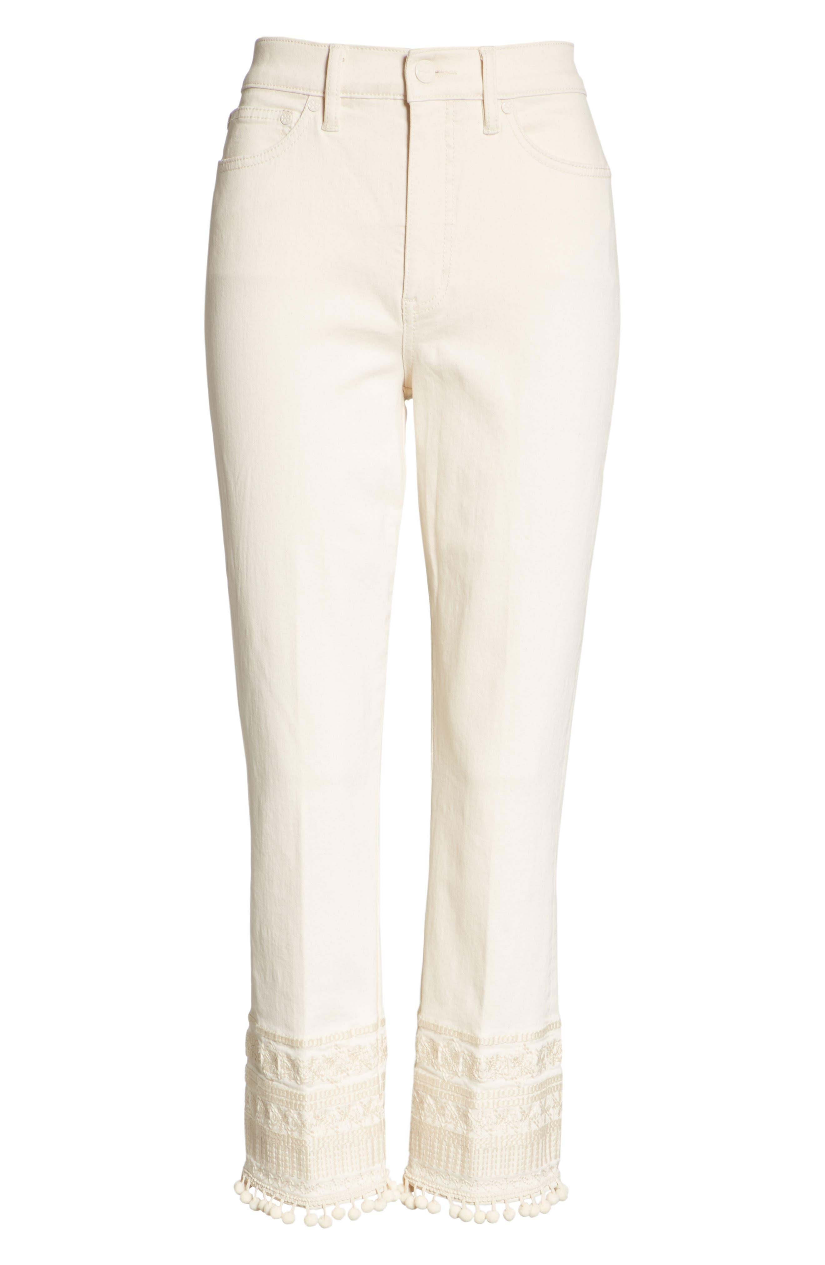 Lana Embellished Hem Jeans,                             Alternate thumbnail 6, color,                             104