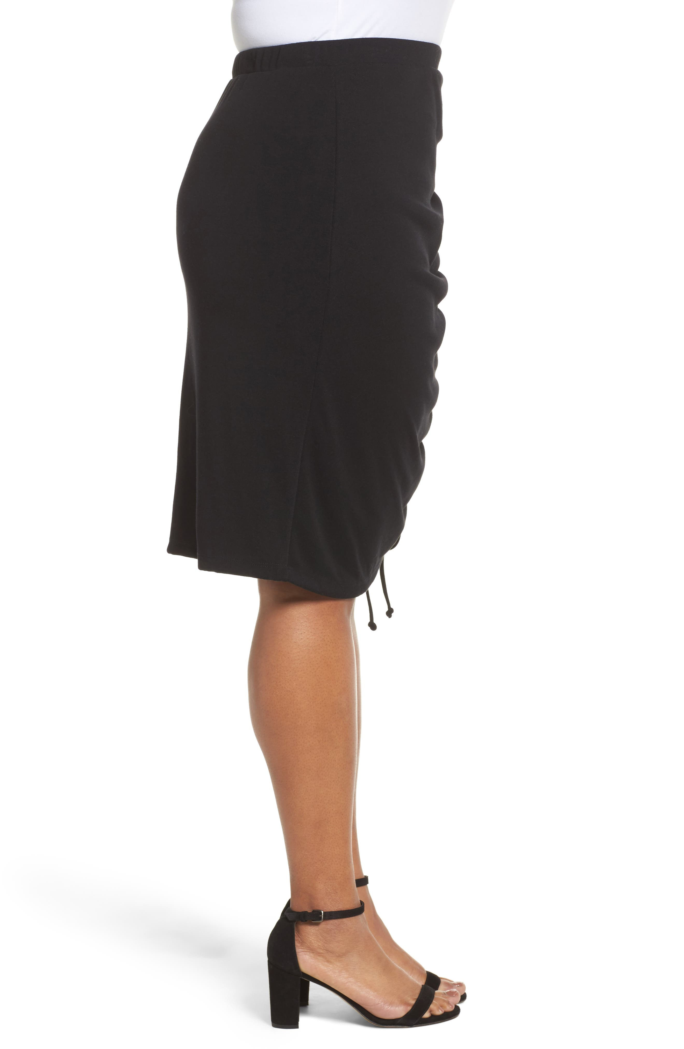 Side Ruched Pencil Skirt,                             Alternate thumbnail 3, color,                             001