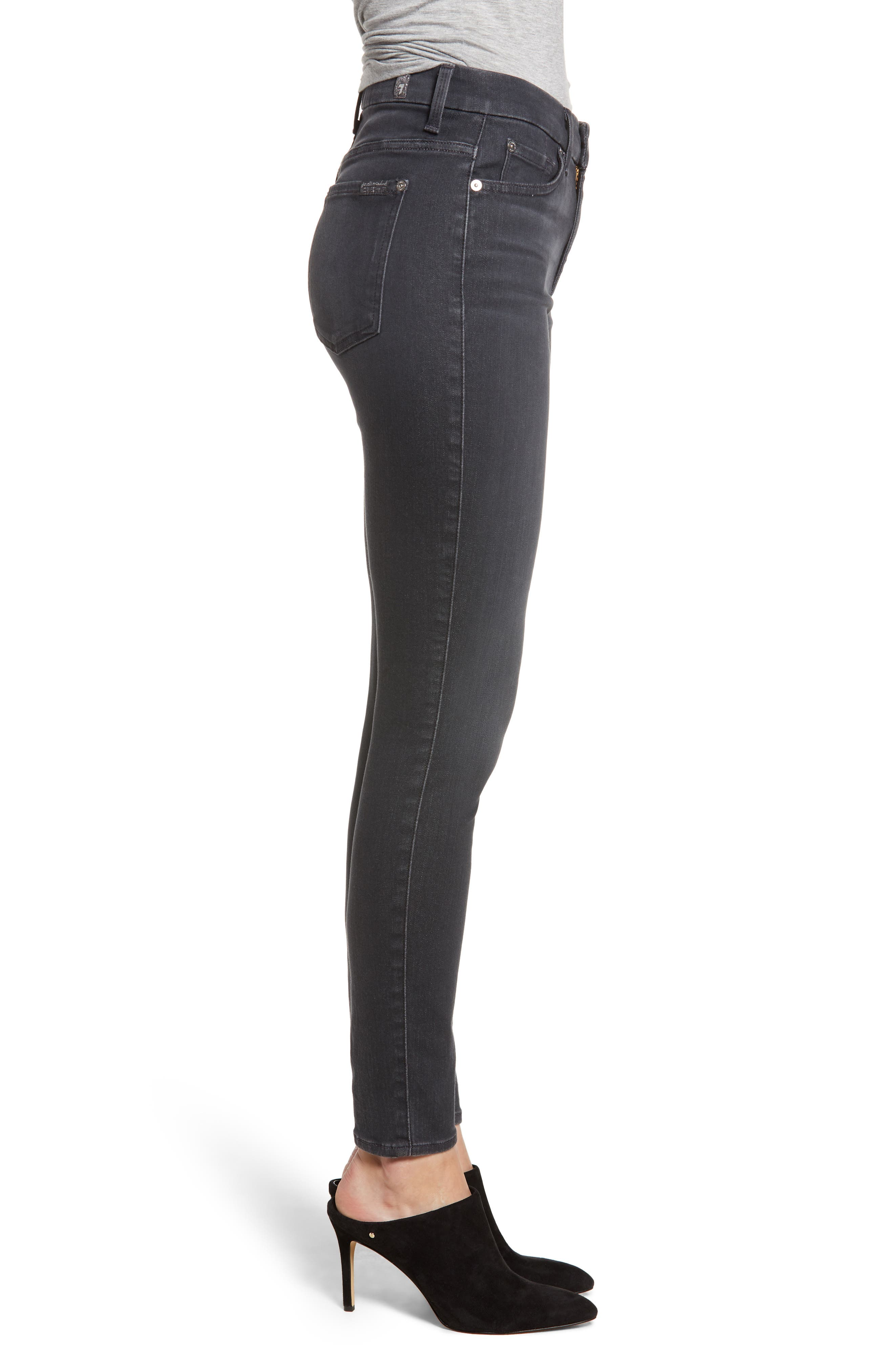 High Waist Ankle Skinny Jeans,                             Alternate thumbnail 3, color,                             GREY