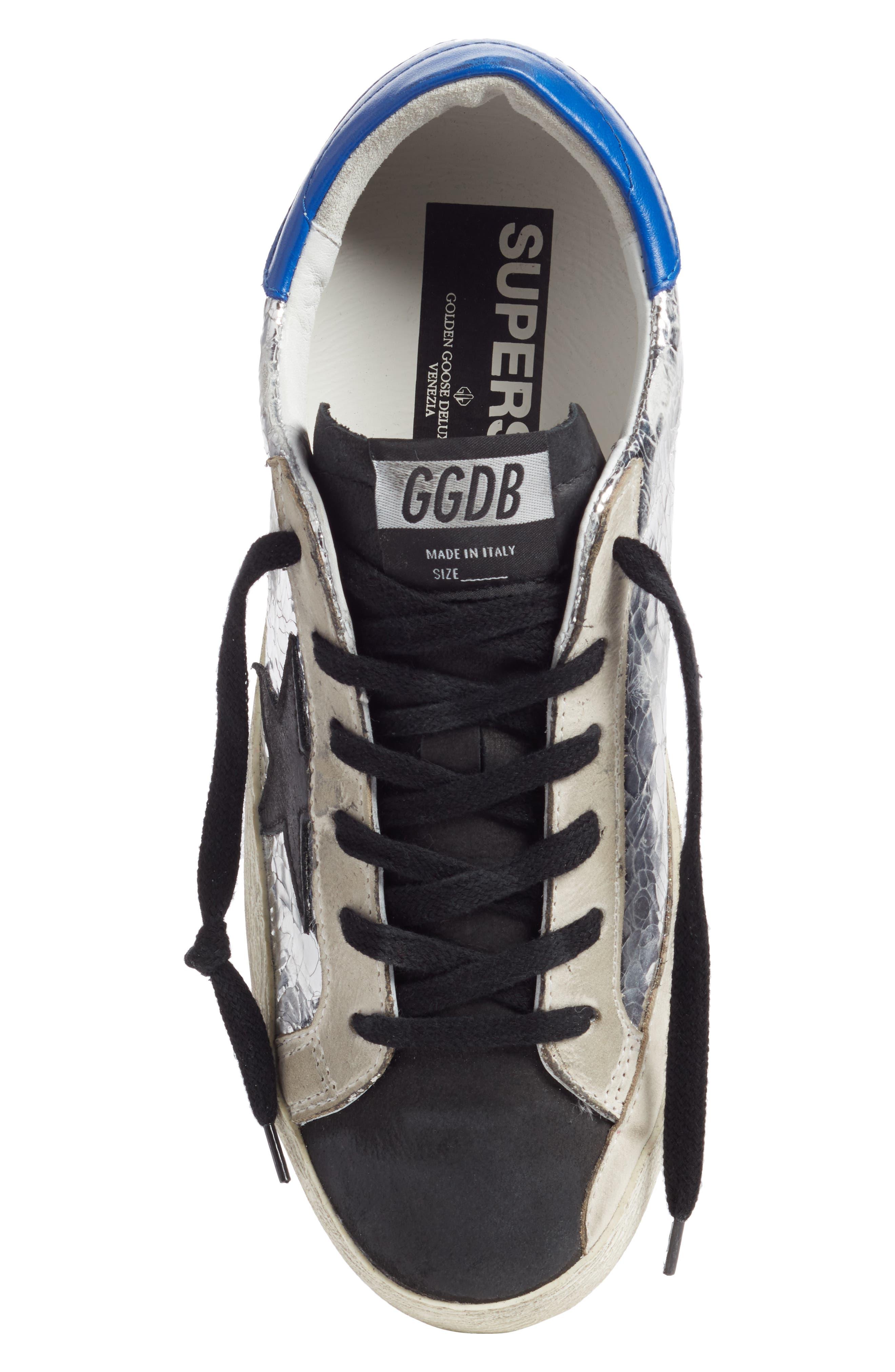 GOLDEN GOOSE,                             Superstar Sneaker,                             Alternate thumbnail 5, color,                             SILVER/ BLUE