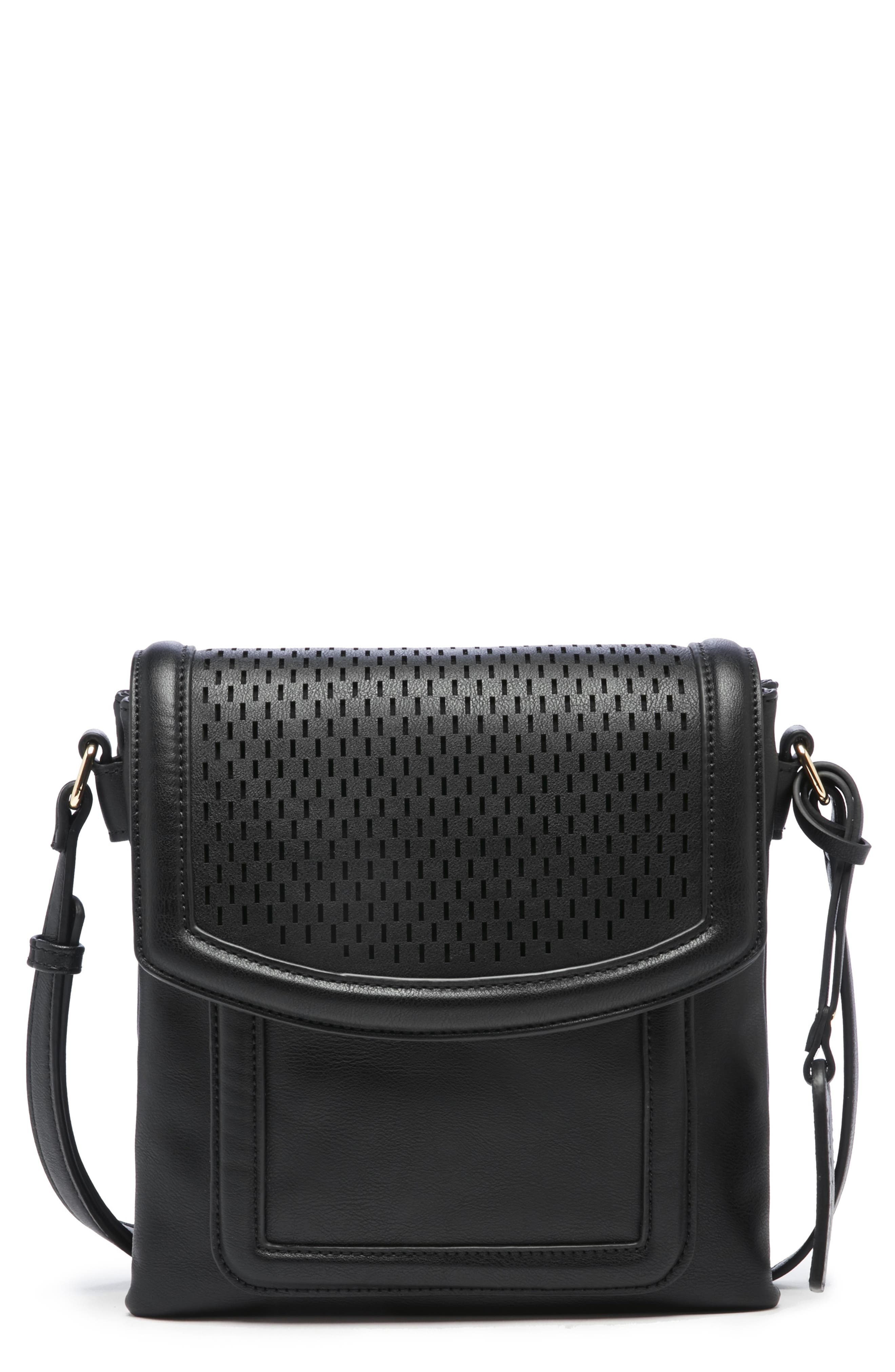 Daisa Faux Leather Crossbody Bag,                         Main,                         color, BLACK