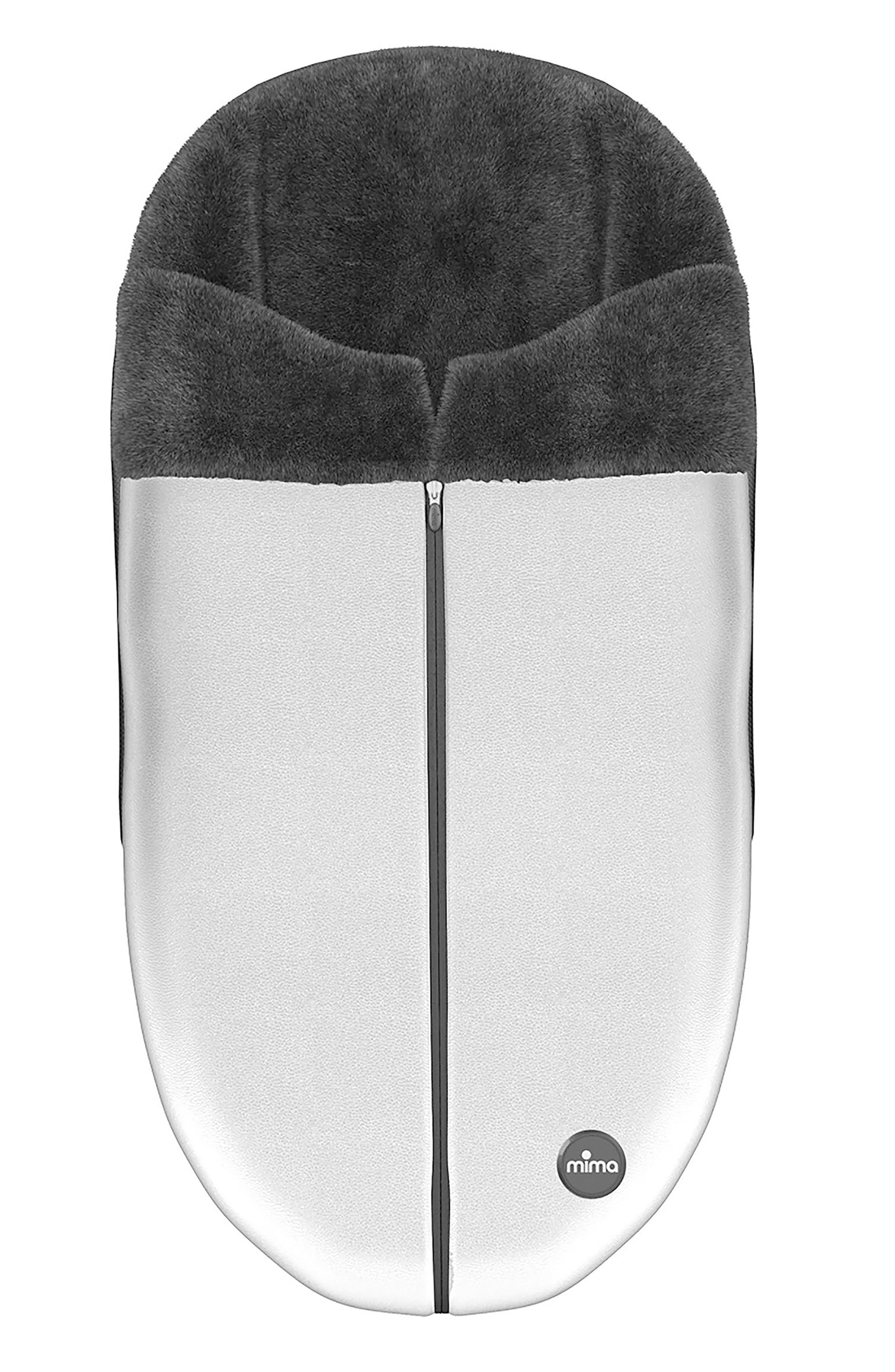 Faux Leather Footmuff for Mima Xari Stroller,                             Main thumbnail 1, color,                             ARGENTO
