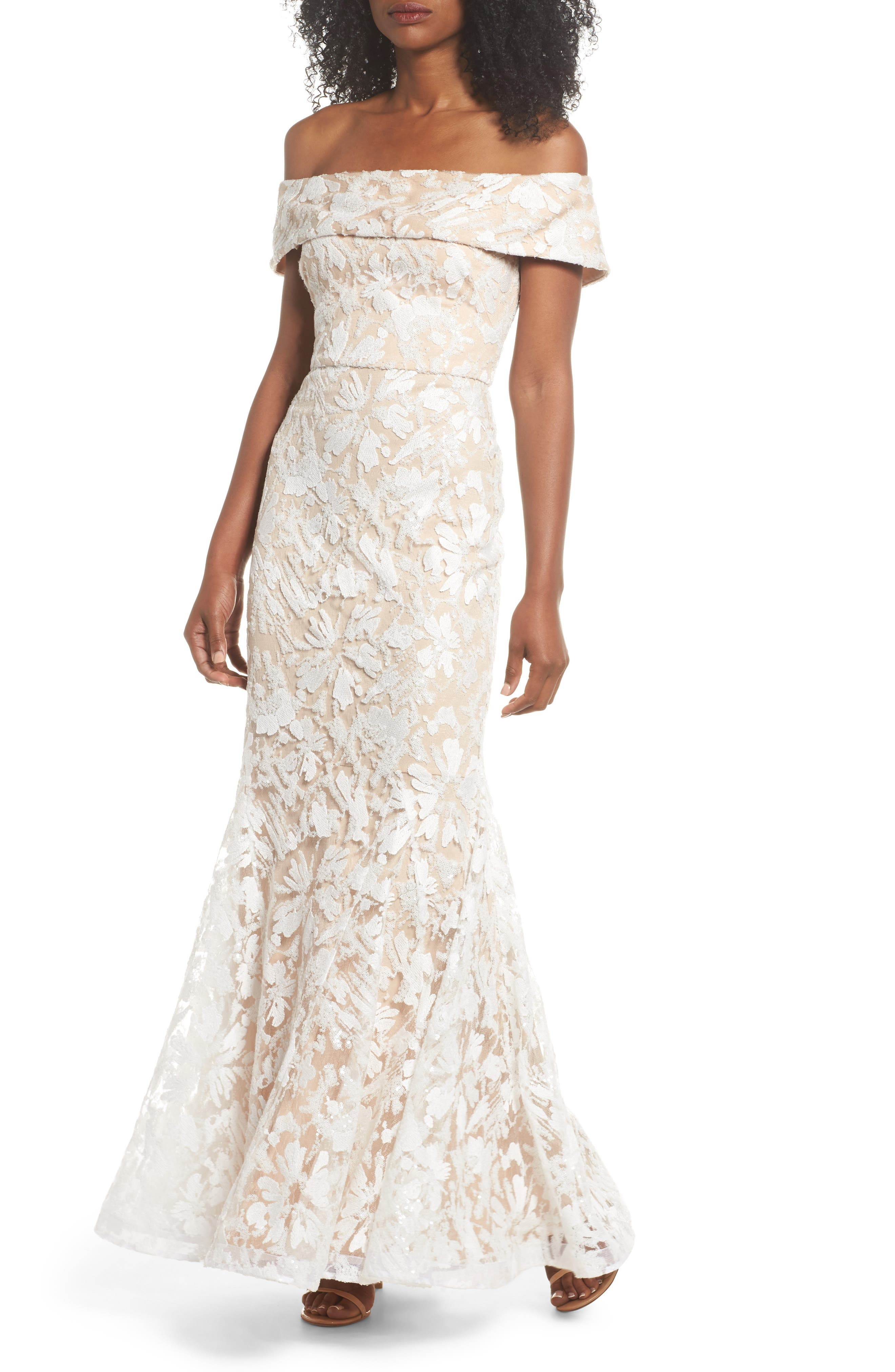 Off the Shoulder Sequin Trumpet Gown,                         Main,                         color, 250