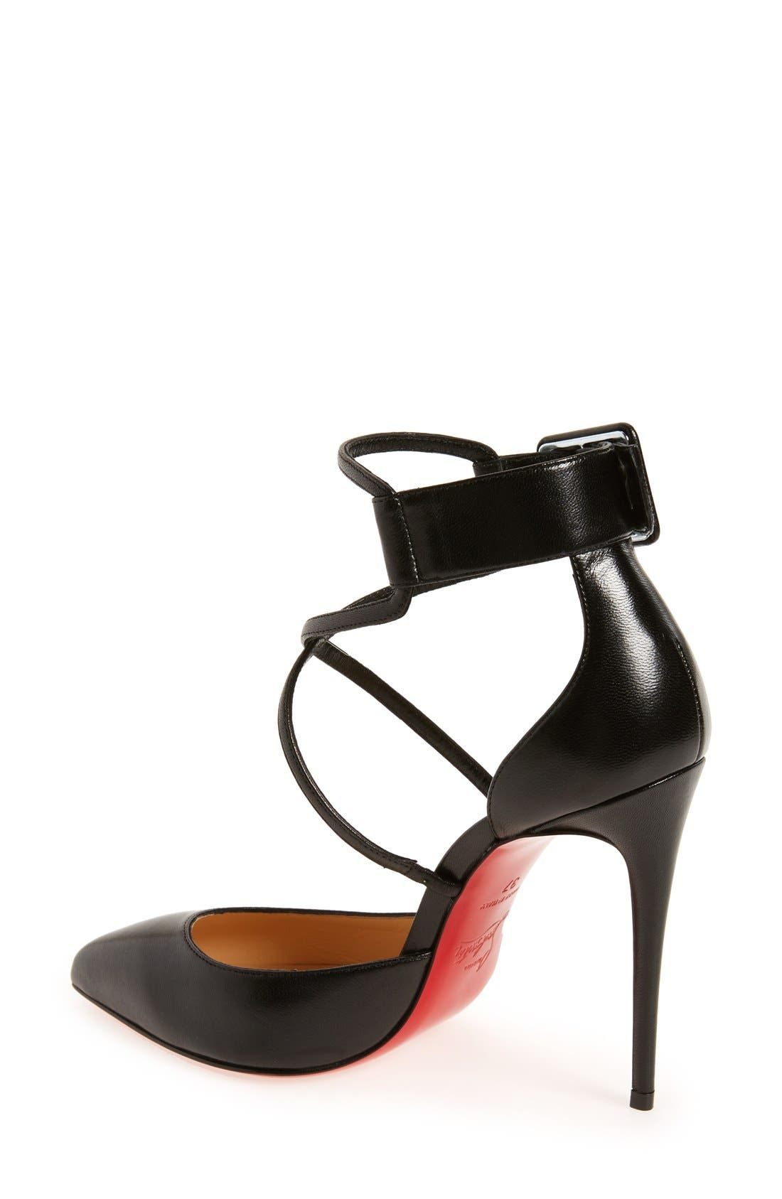 'Suzanna' Pointy Toe Pump,                             Alternate thumbnail 2, color,                             BLACK LEATHER