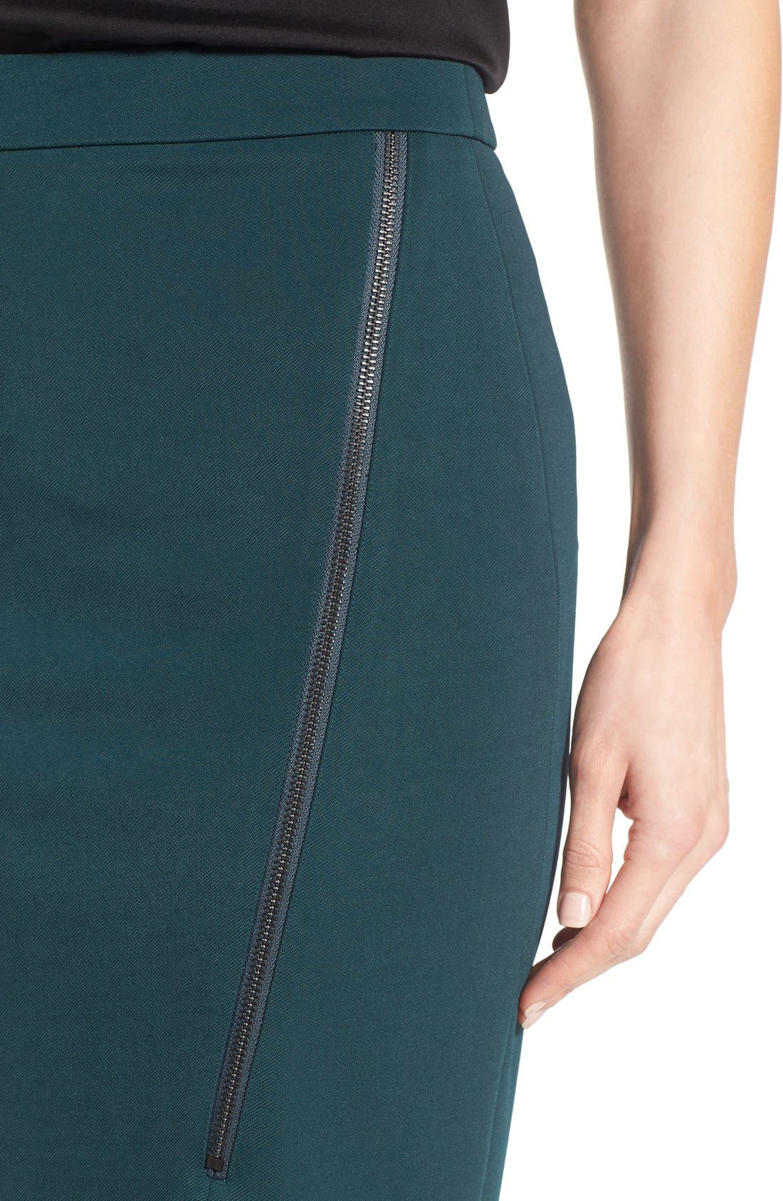 Asymmetrical Zip Pencil Skirt,                             Alternate thumbnail 14, color,