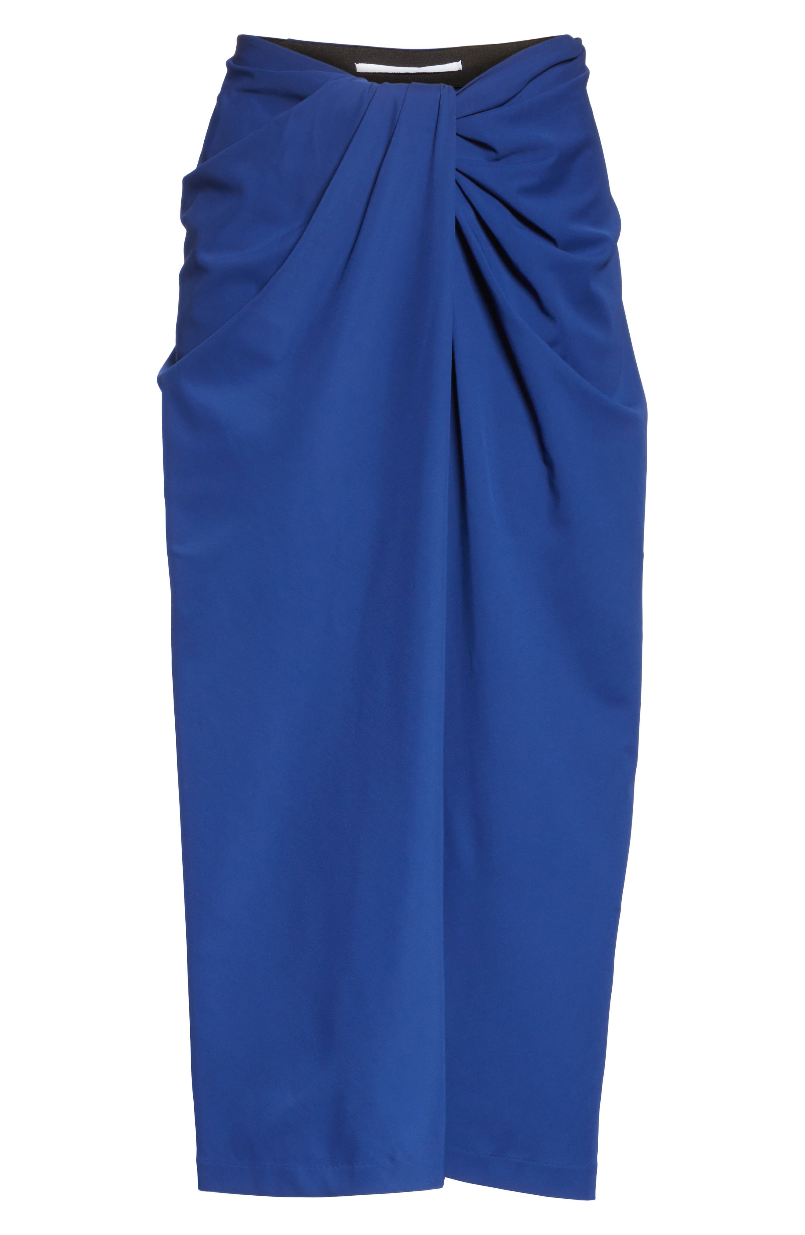 Jersey Twist Front Midi Skirt,                             Alternate thumbnail 6, color,