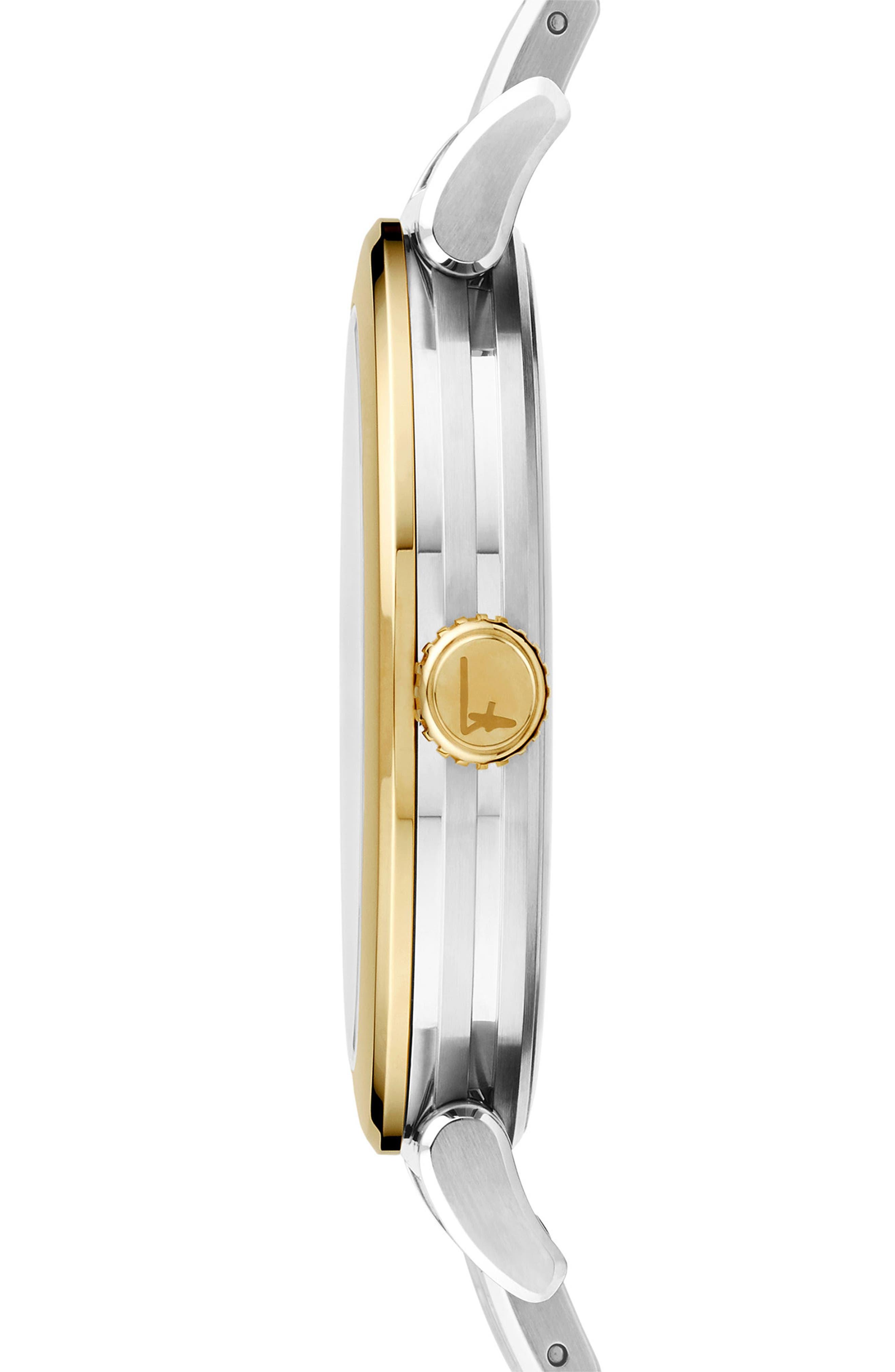 SALVATORE FERRAGAMO,                             Feroni Bracelet Watch, 40mm,                             Alternate thumbnail 2, color,                             SILVER/ GOLD