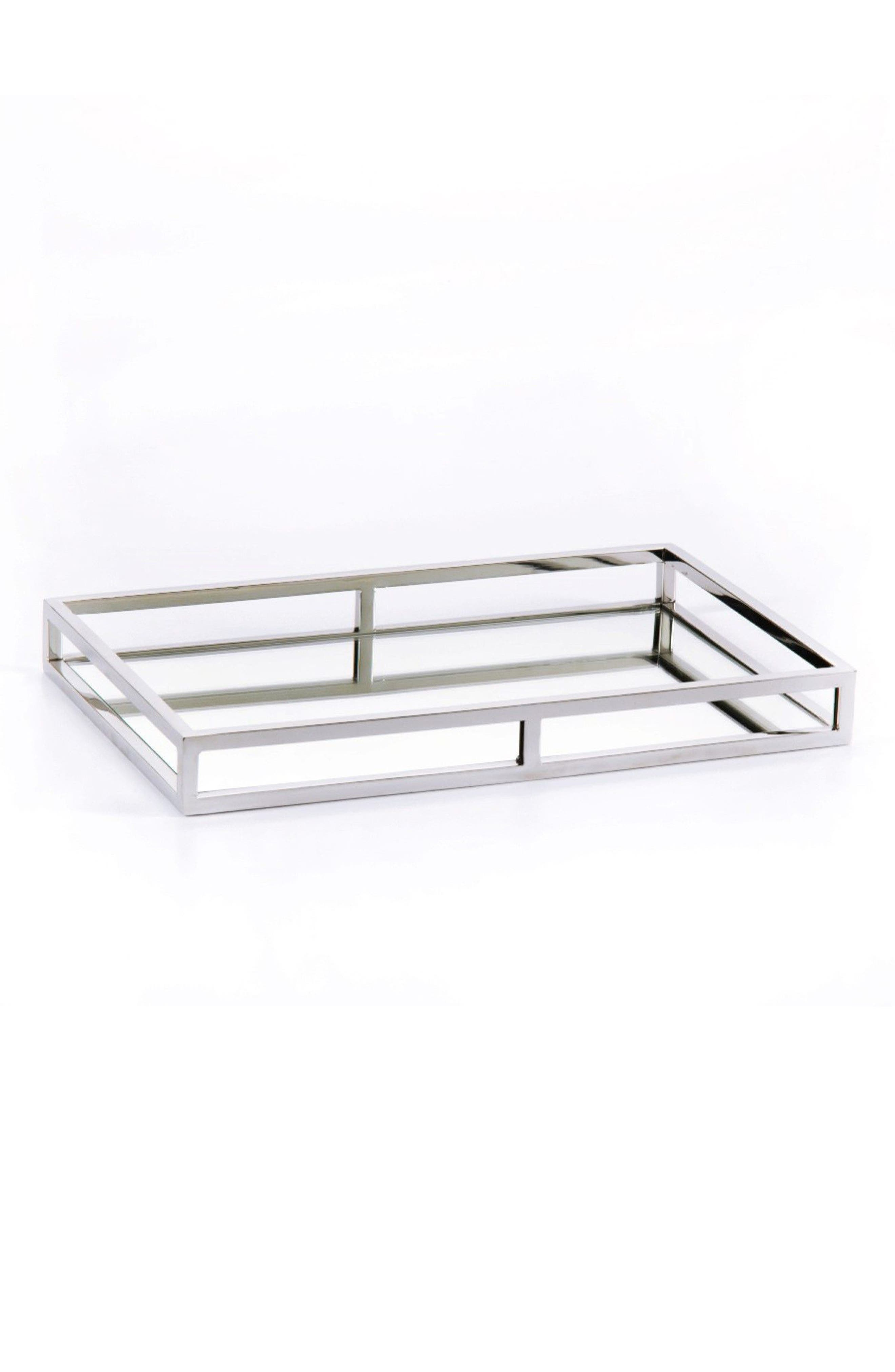 Venturi Rectangular Mirrored Tray,                             Main thumbnail 1, color,                             SILVER