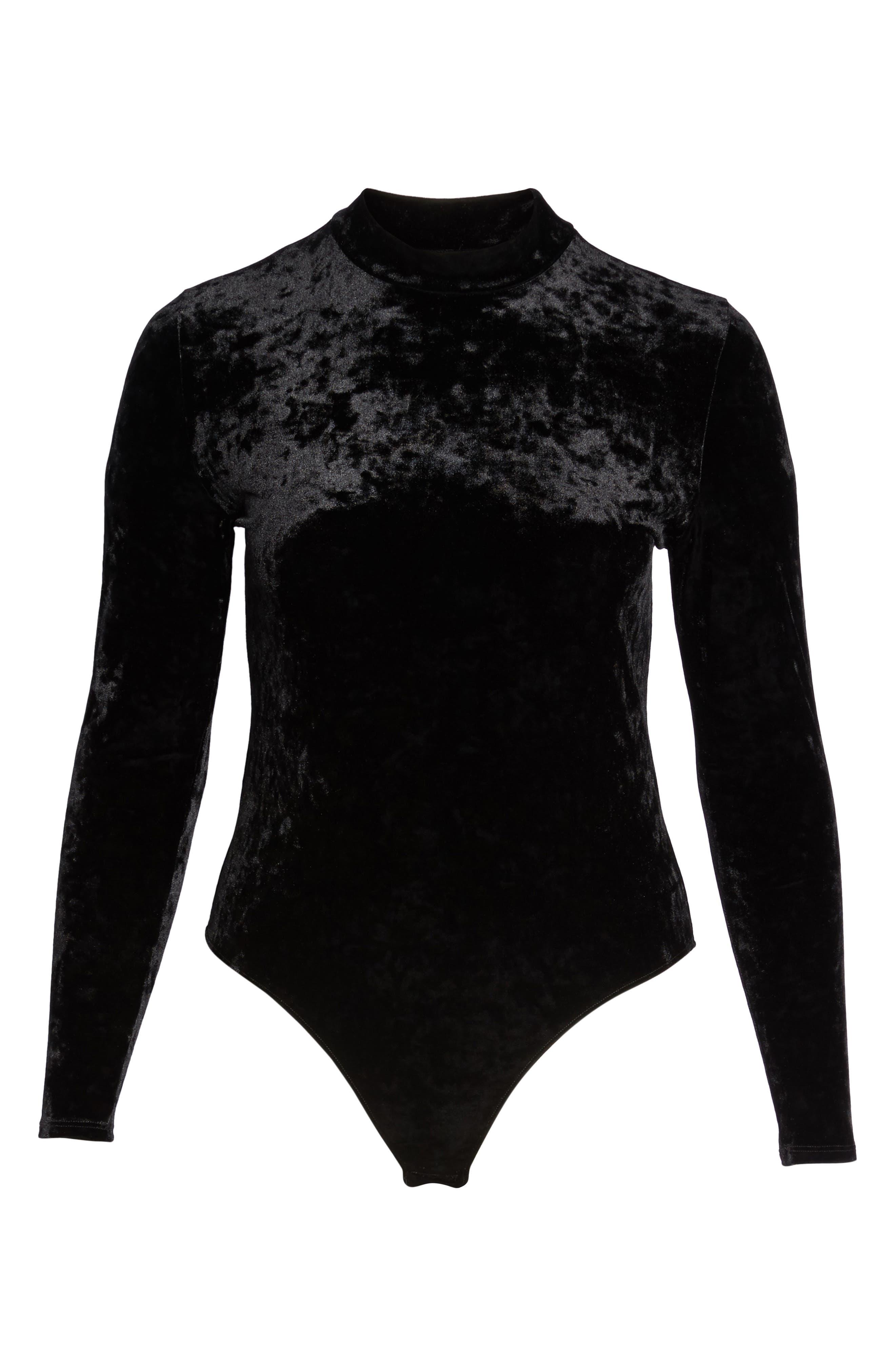 Velvet Thong Bodysuit,                             Alternate thumbnail 6, color,                             001