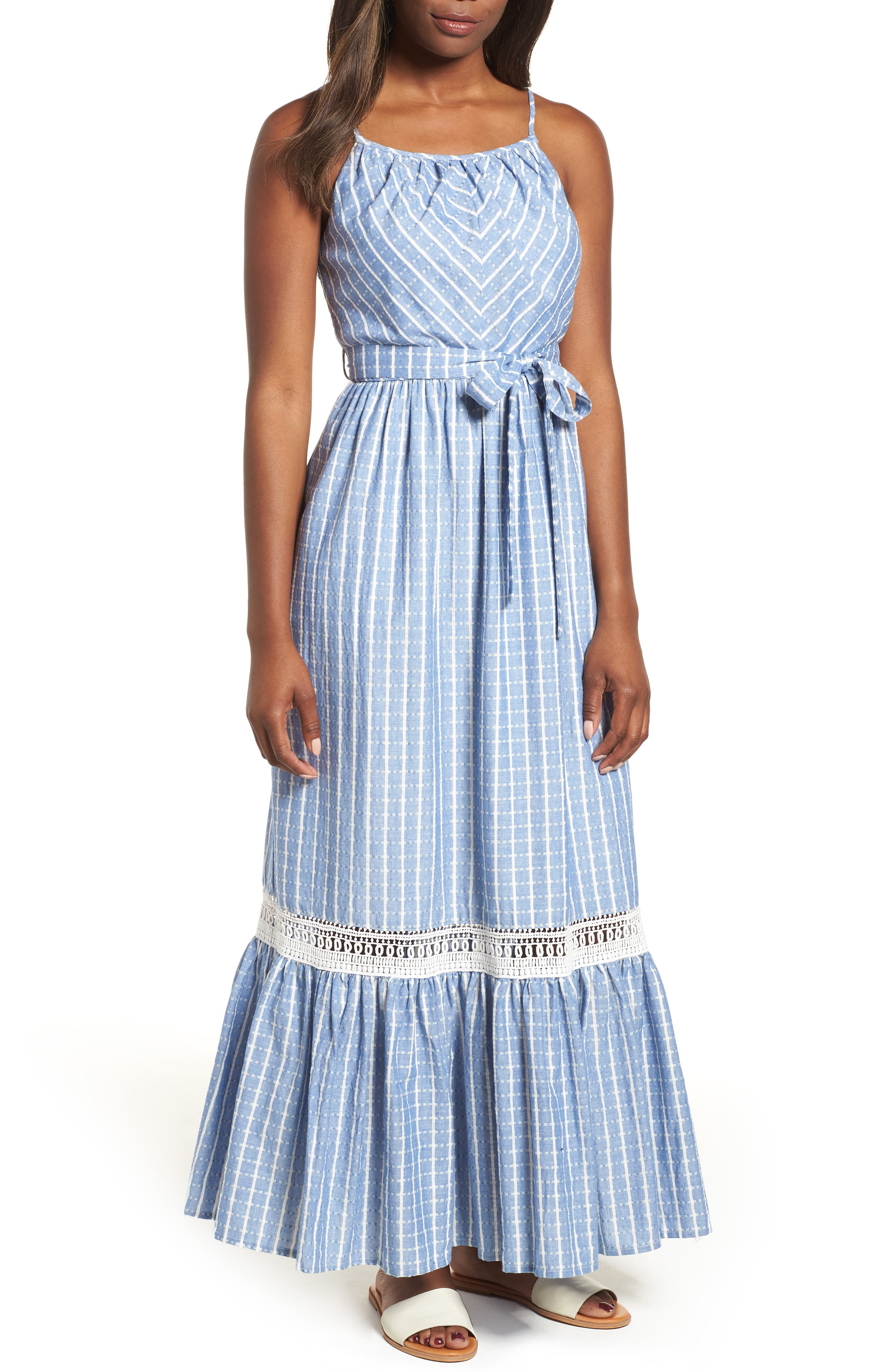 Tie Waist Cotton Maxi Dress,                             Main thumbnail 2, color,