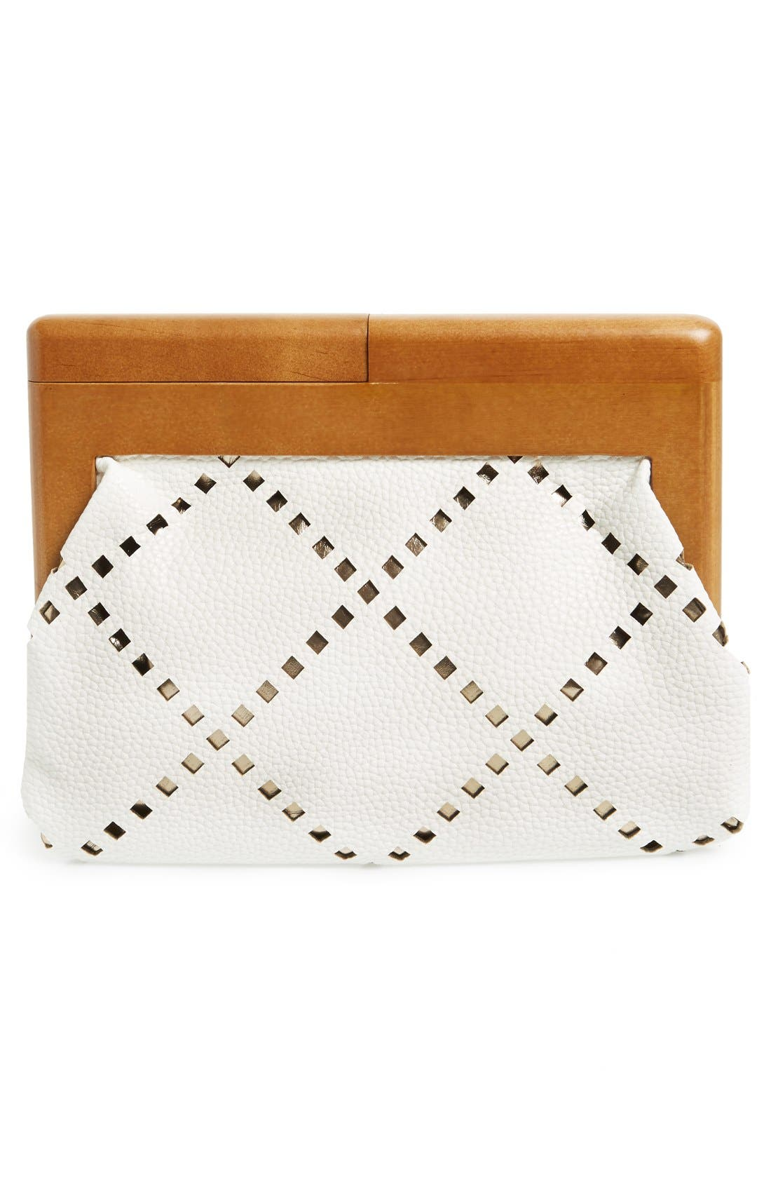 Perforated Faux Leather Frame Clutch,                             Alternate thumbnail 3, color,                             100