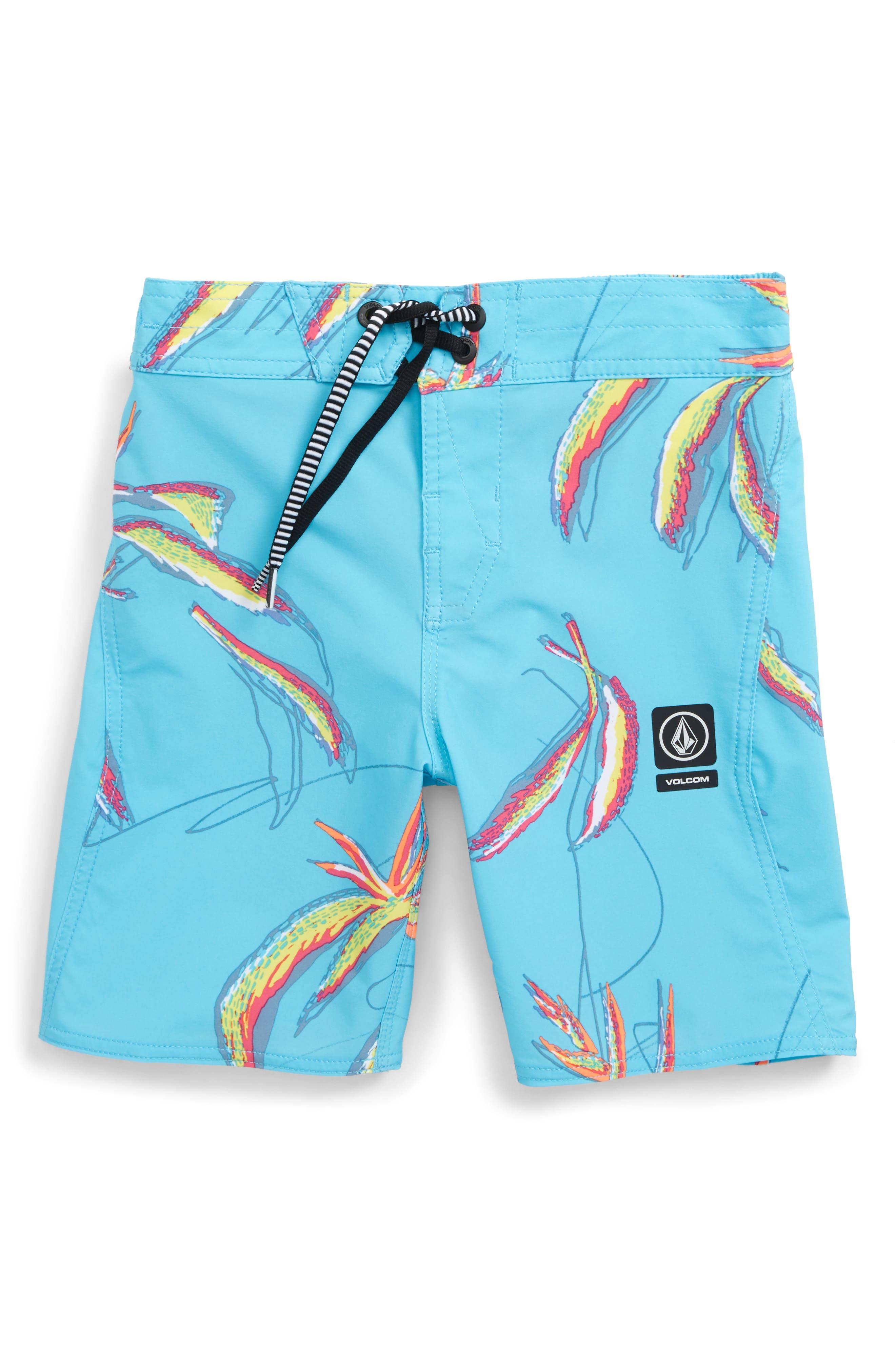 Tropical Print Board Shorts,                             Main thumbnail 1, color,                             DUSTY AQUA