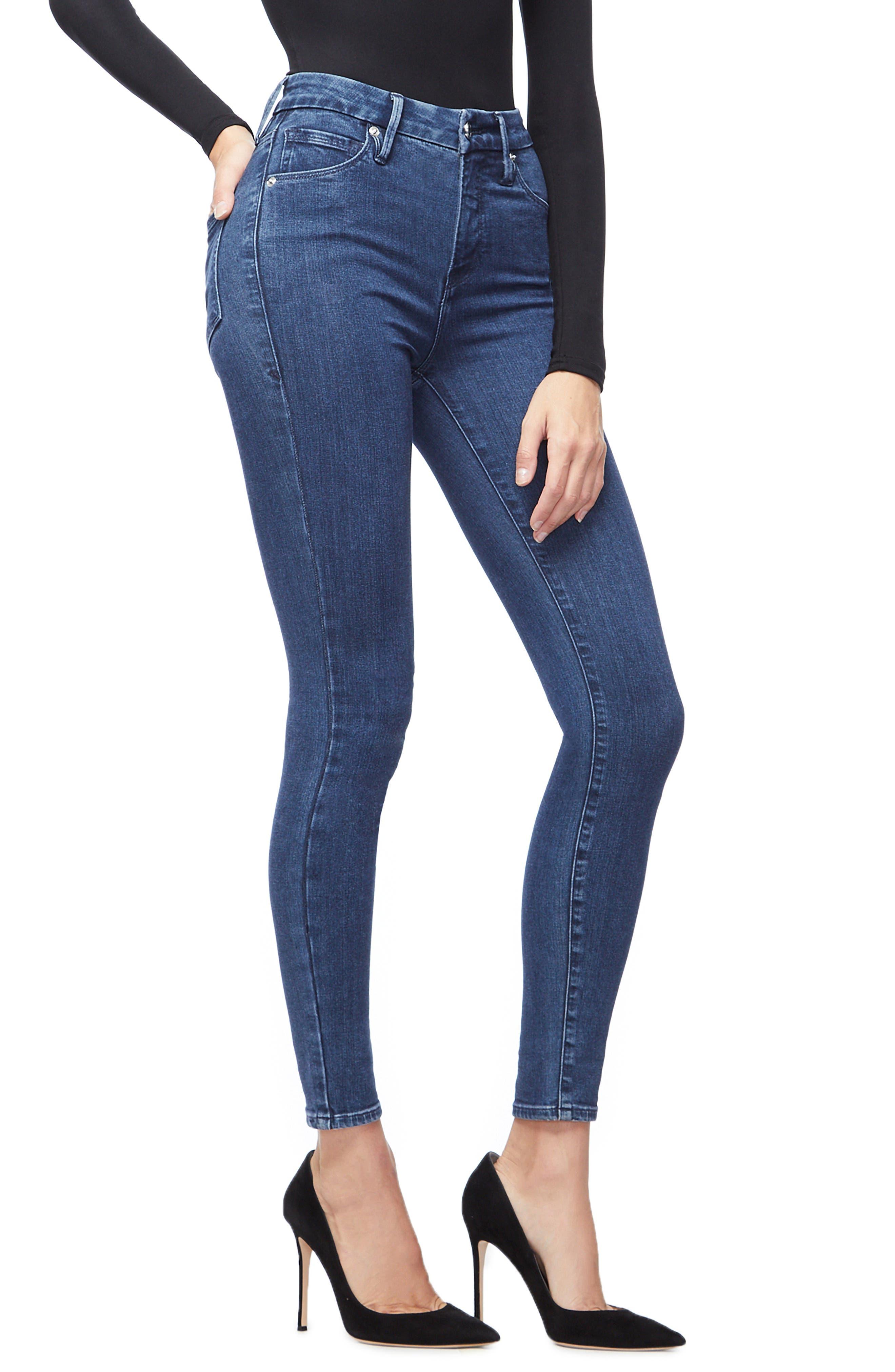 Good Waist High Waist Skinny Jeans,                             Alternate thumbnail 3, color,                             BLUE205