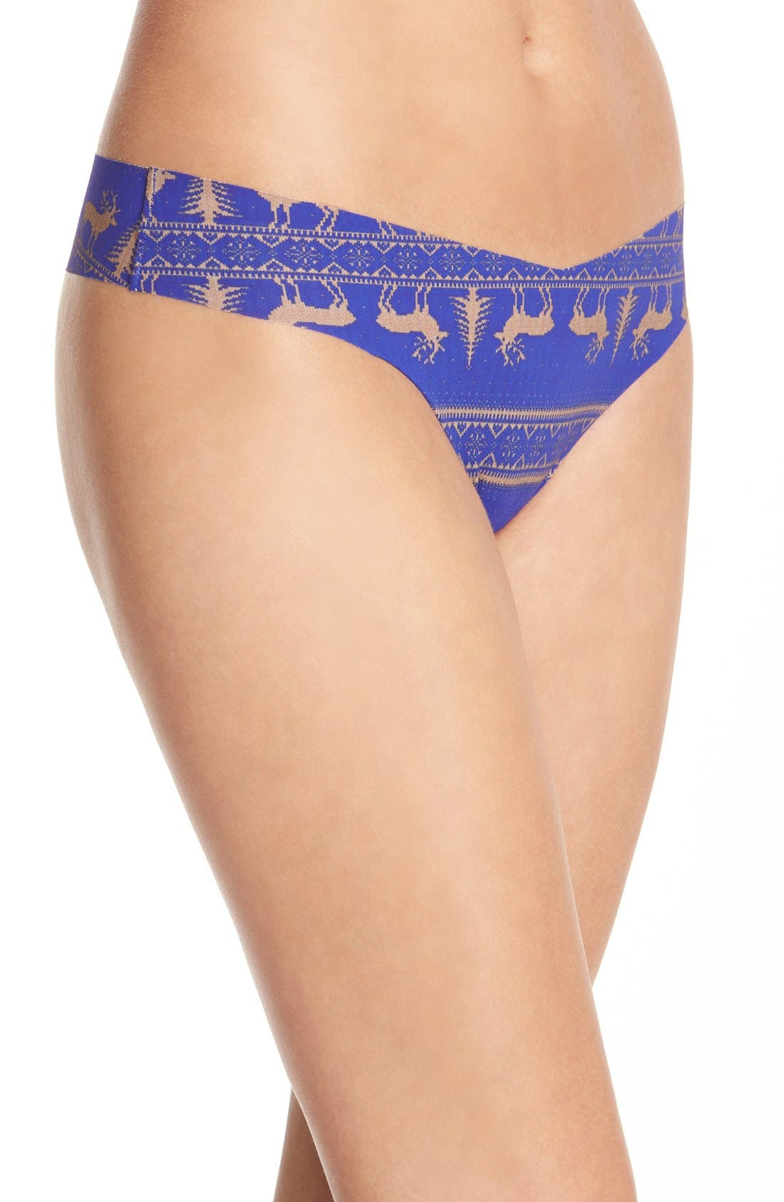 Print Microfiber Thong,                             Alternate thumbnail 338, color,