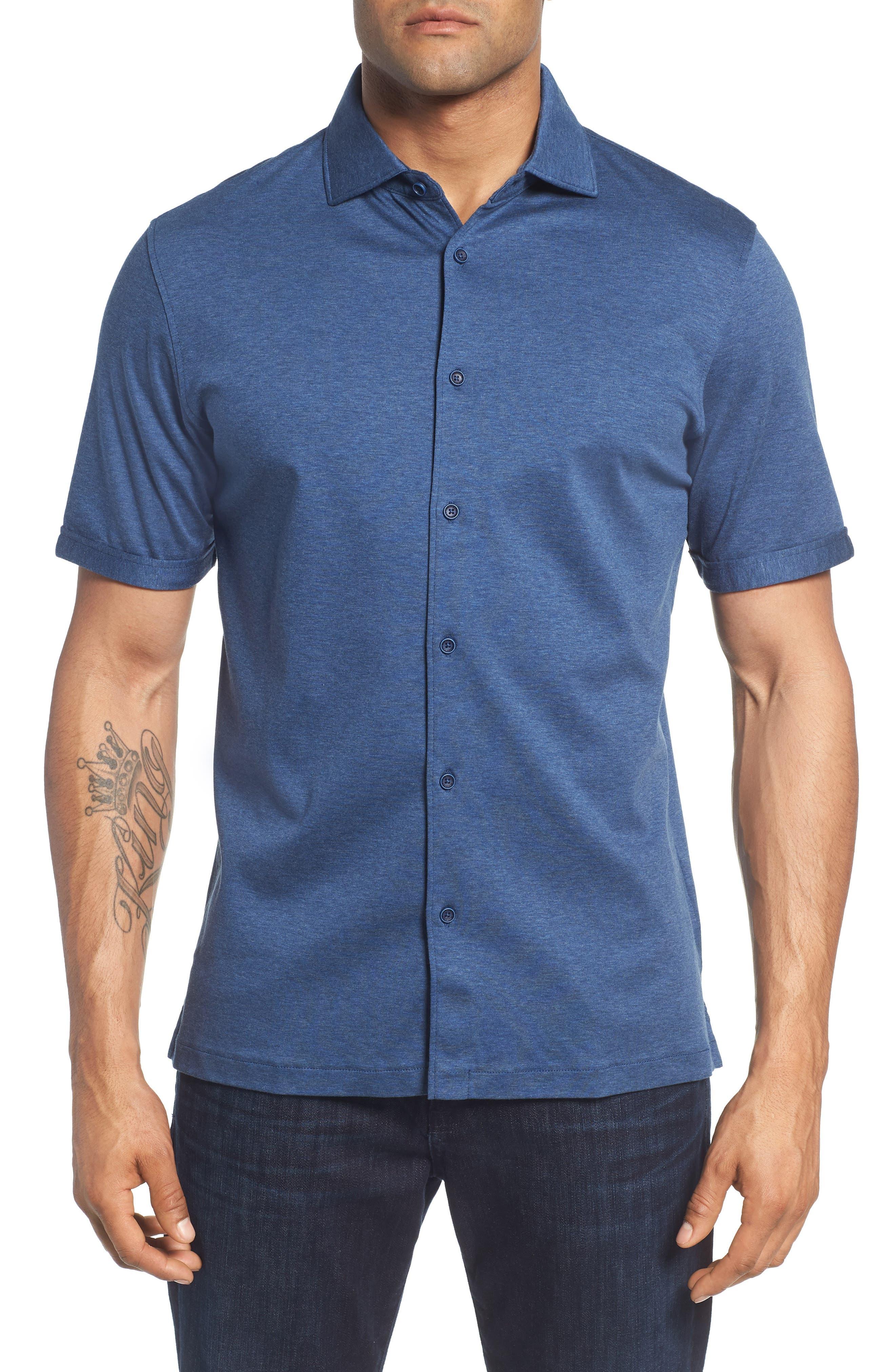 men's bugatchi trim fit heather knit sport shirt, size large - blue