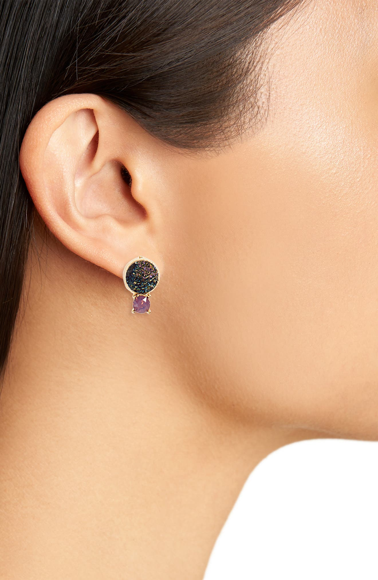 Crystal & Faux Drusy Stud Earrings,                             Alternate thumbnail 3, color,