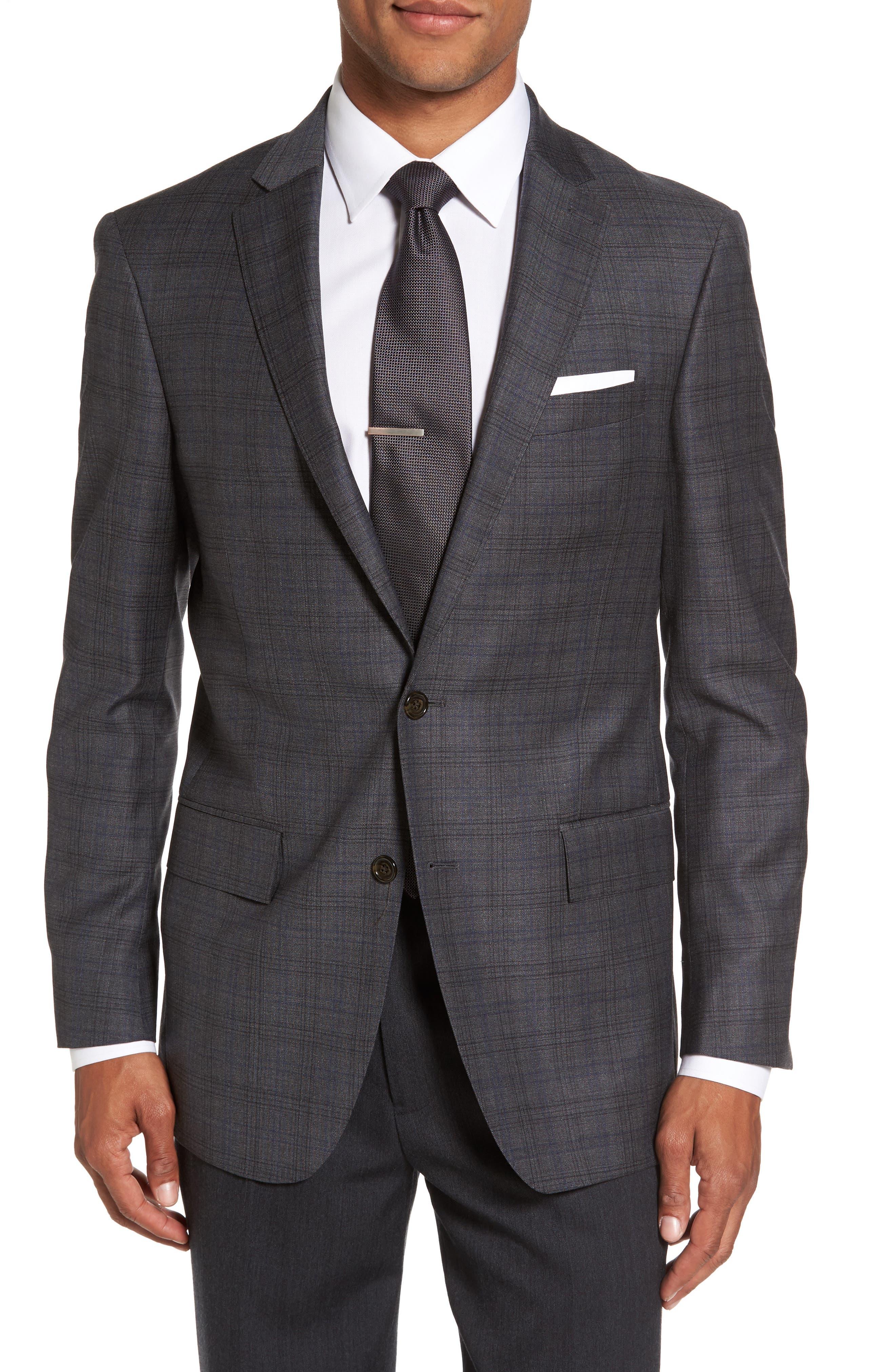 Sutton Trim Fit Plaid Wool Sport Coat,                         Main,                         color, 030
