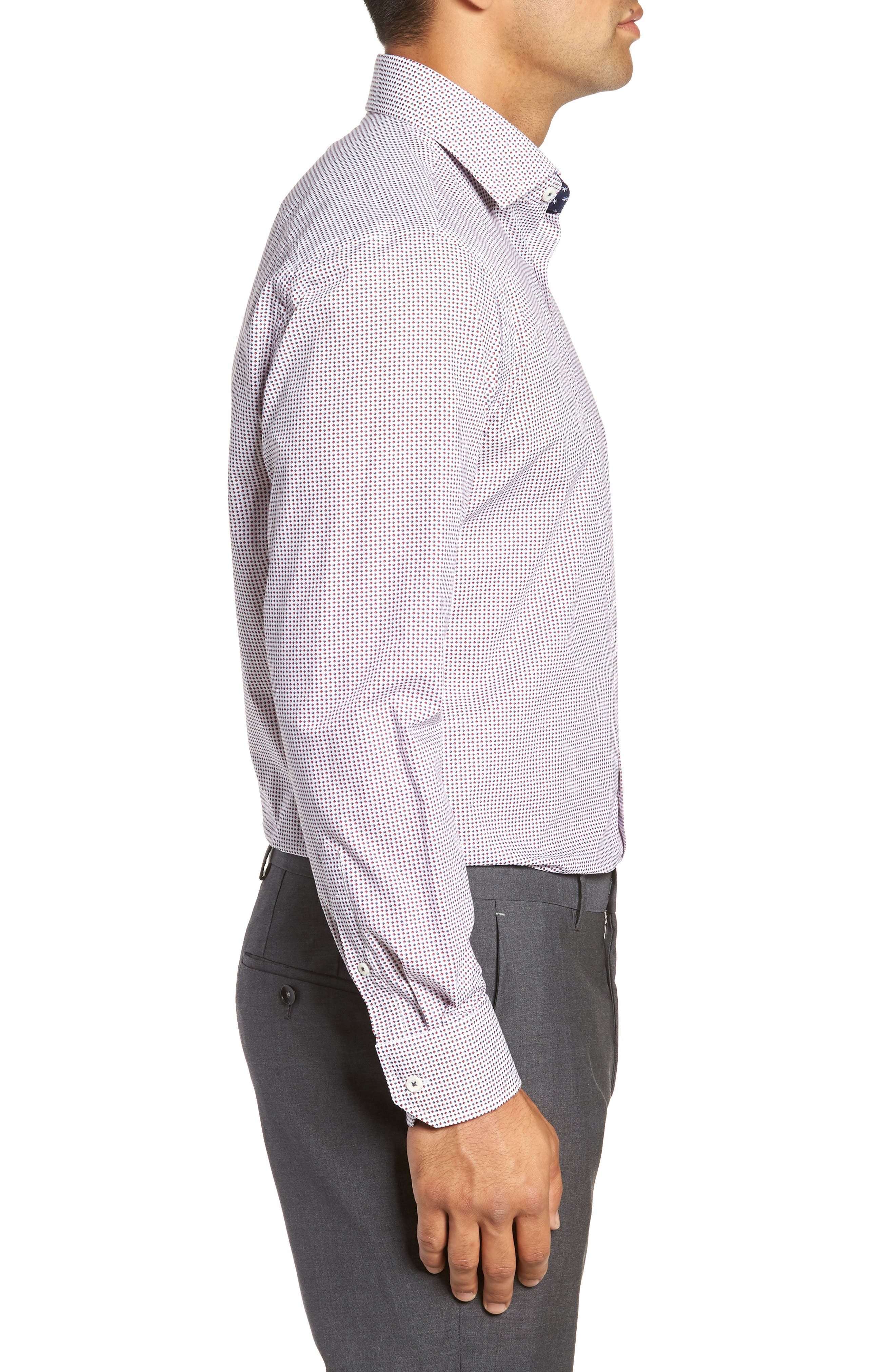 Trim Fit Print Dress Shirt,                             Alternate thumbnail 4, color,                             RUBY