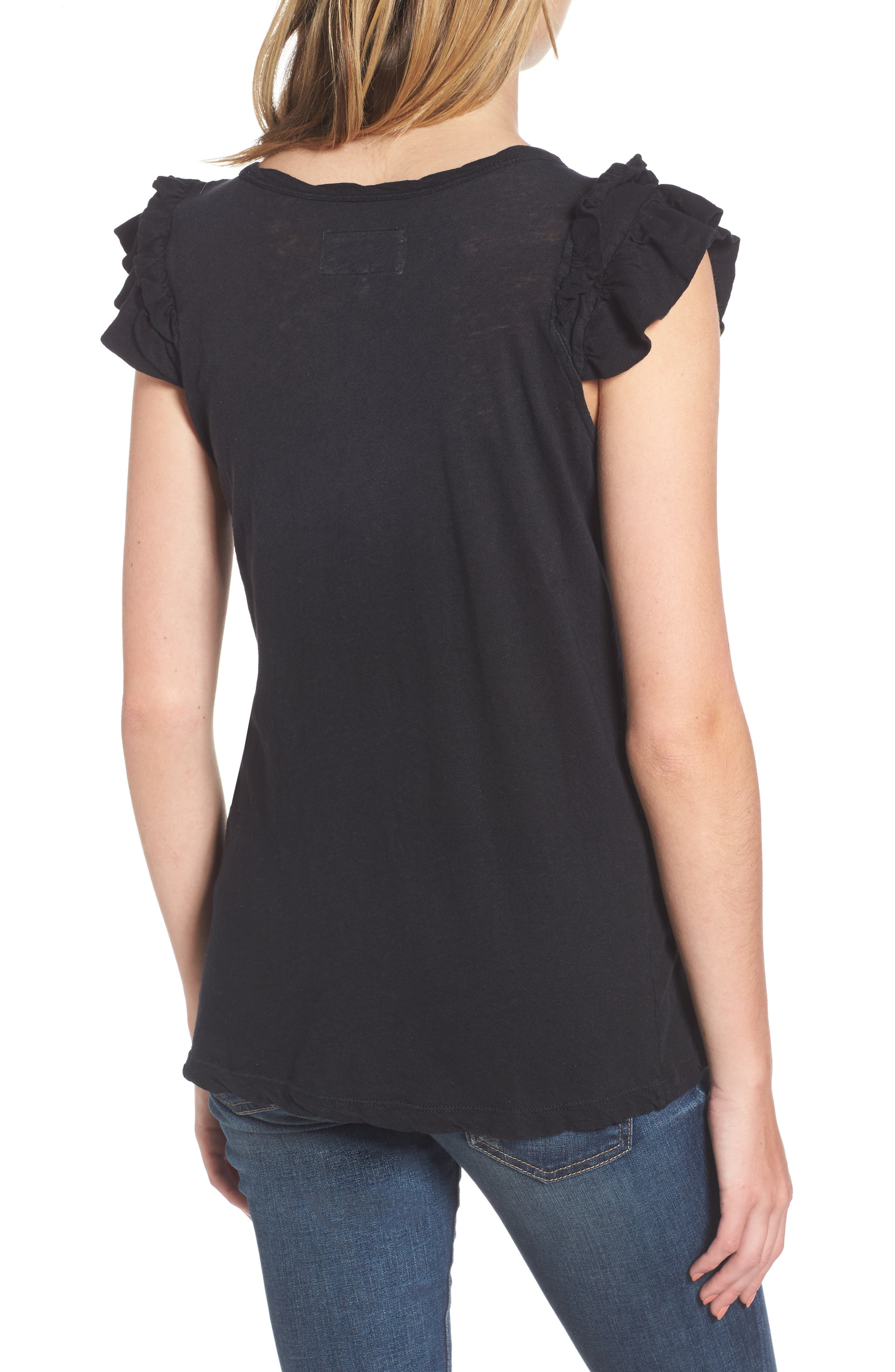 The Double Ruffle Muscle Tee,                             Alternate thumbnail 2, color,                             005