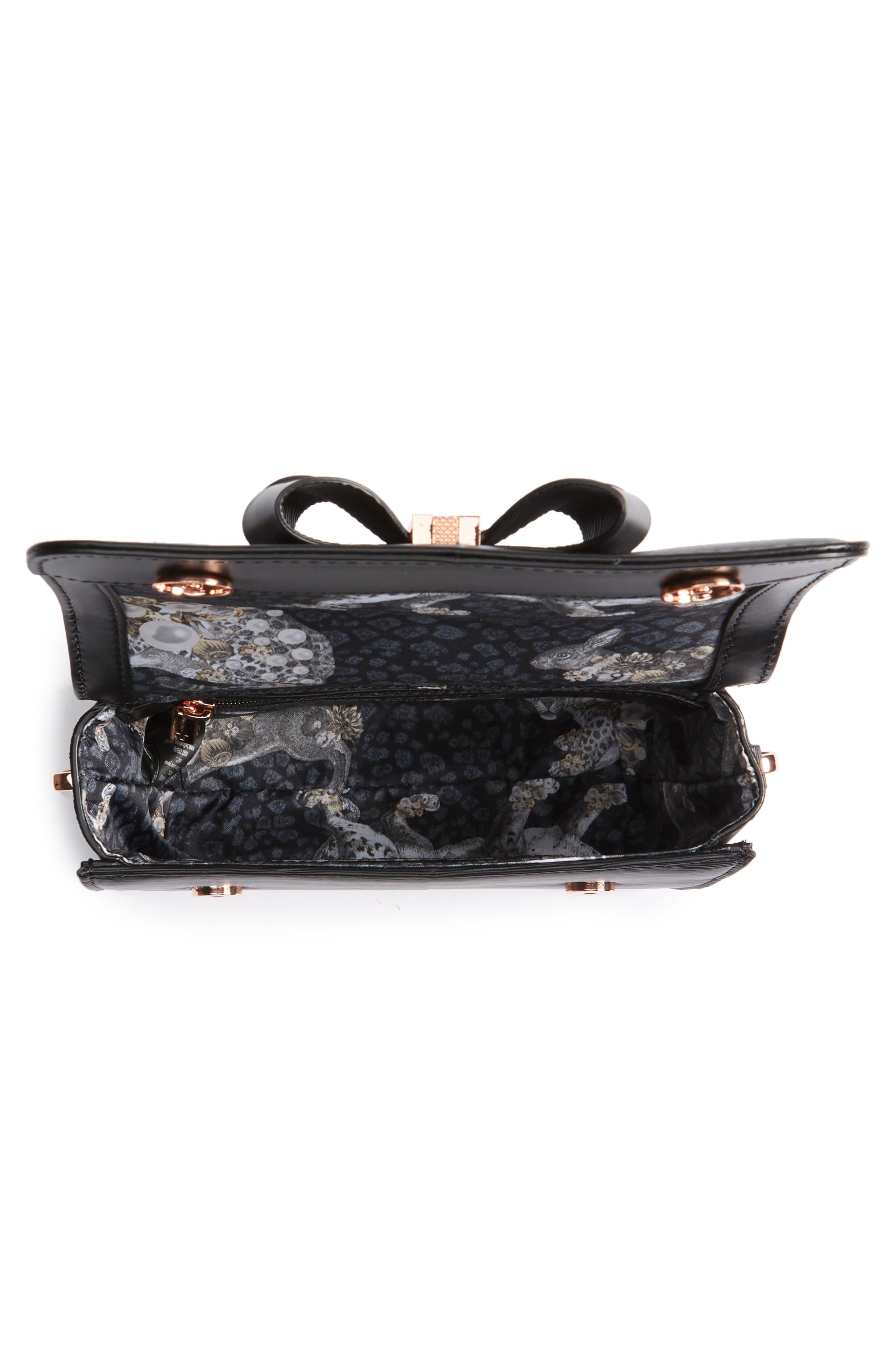 Callih Bow Leather Crossbody Bag,                             Alternate thumbnail 4, color,                             001