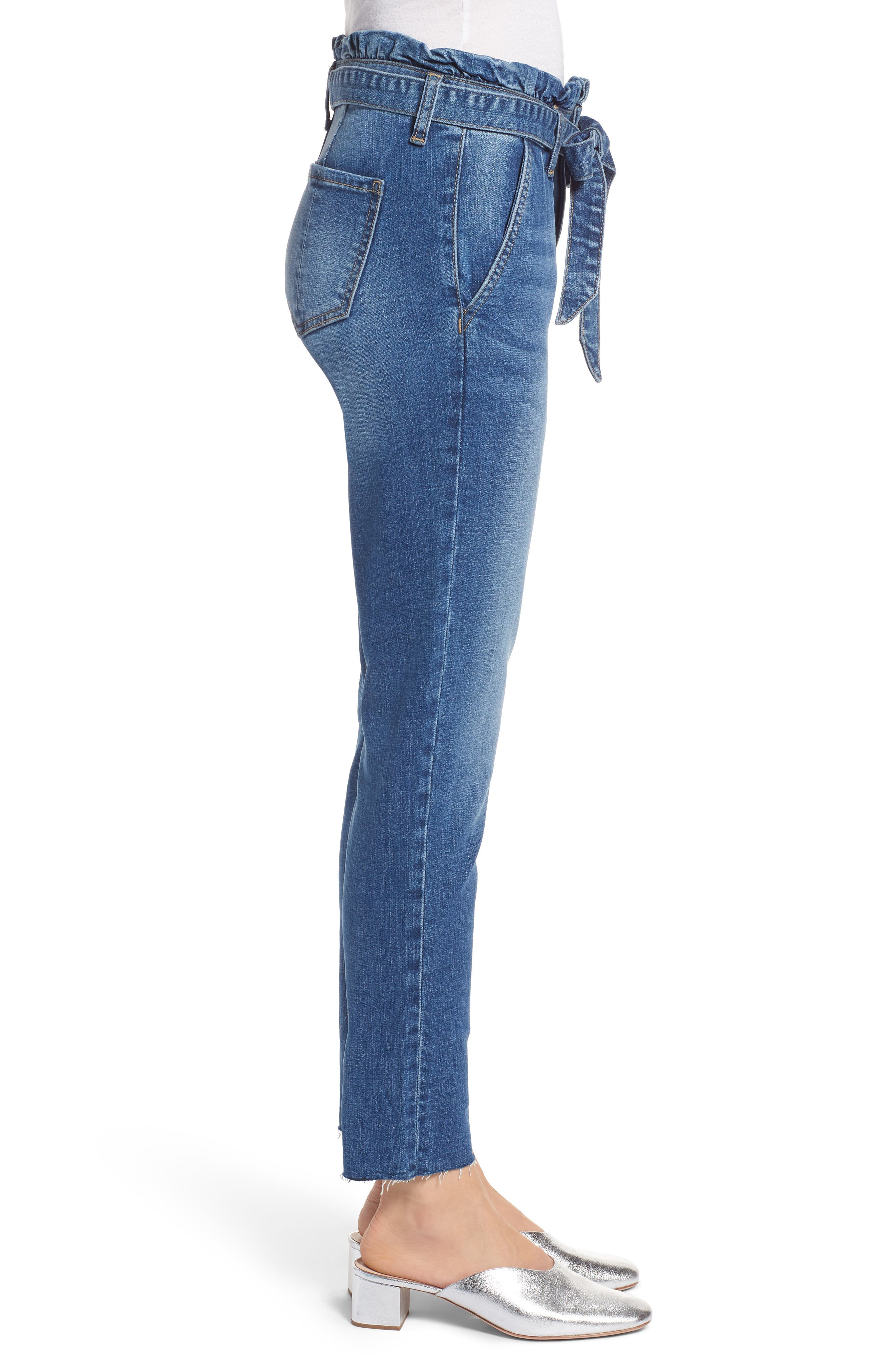 Paperbag Waist Skinny Jeans,                             Alternate thumbnail 3, color,                             PRETTY